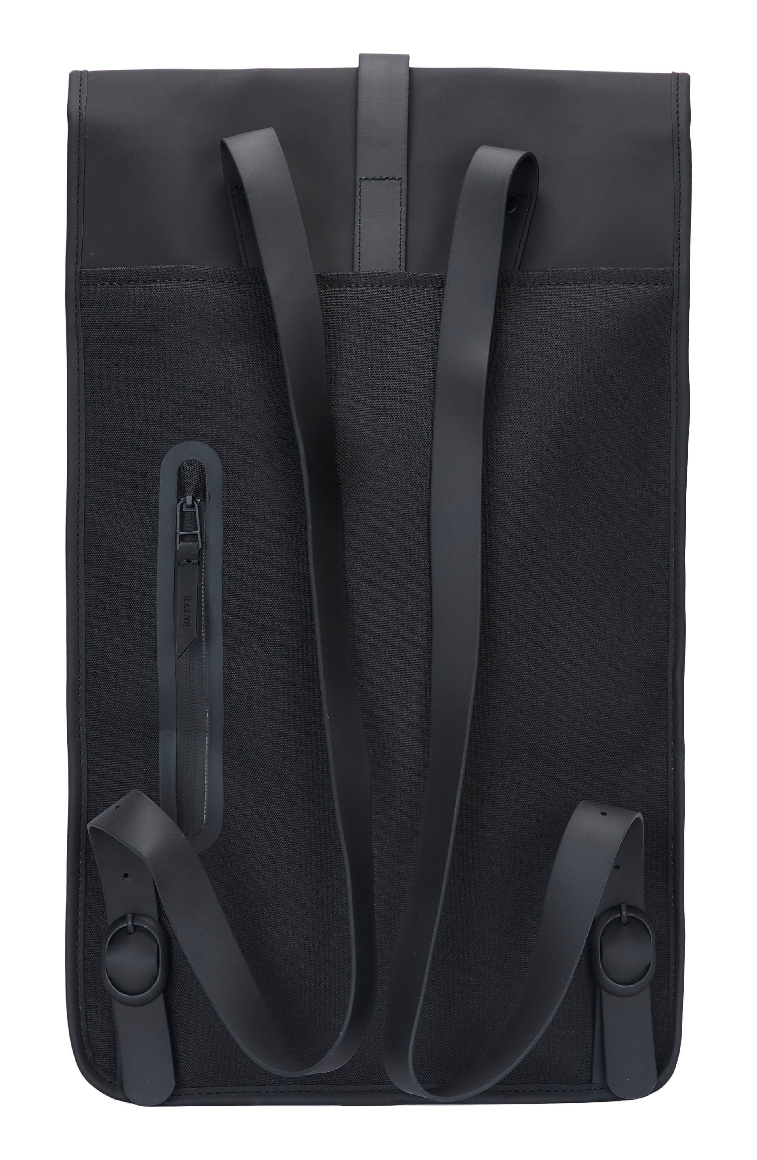 RAINS, Waterproof Backpack, Alternate thumbnail 2, color, BLACK