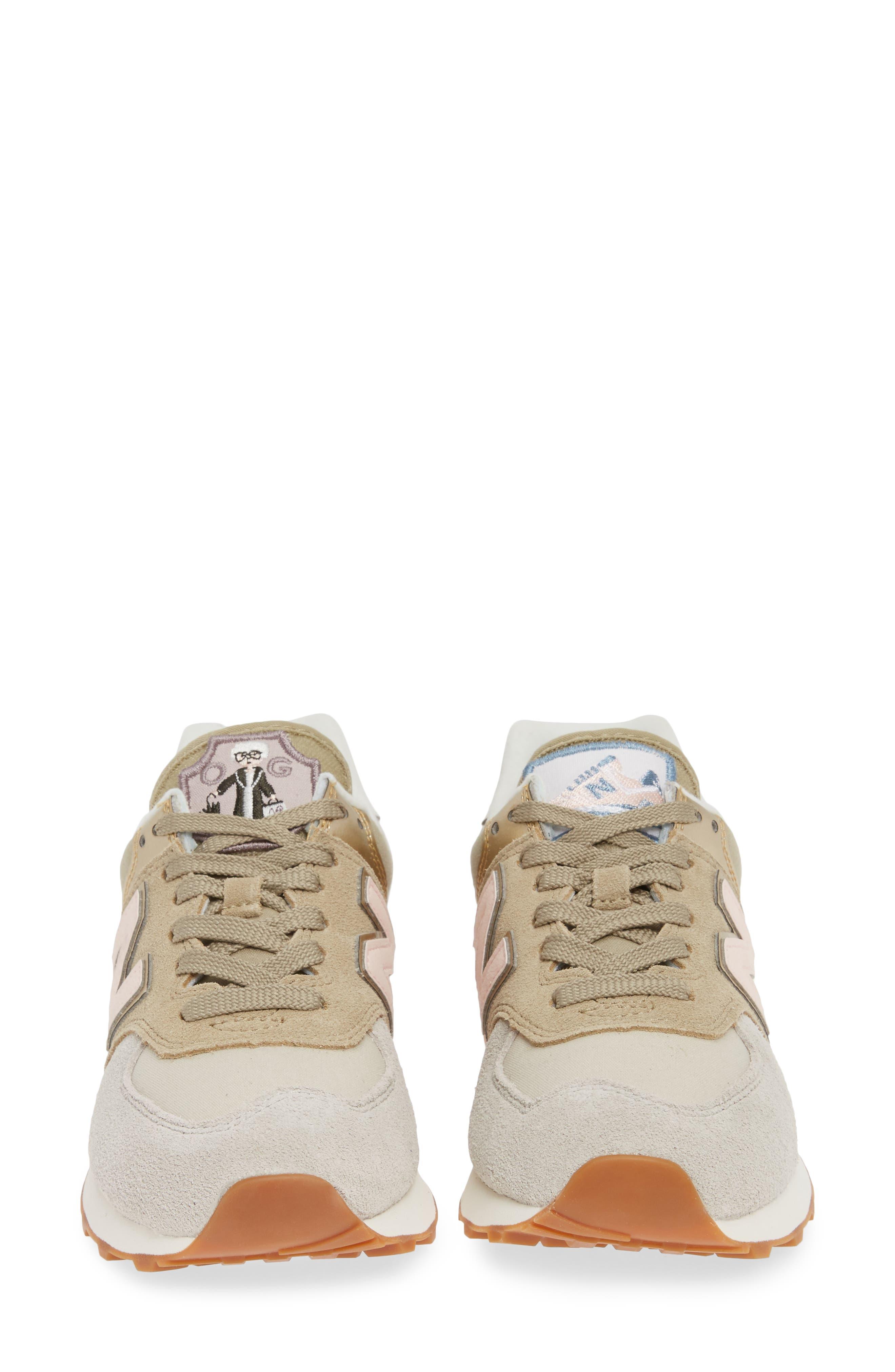 NEW BALANCE, 574 Metallic Patch Sneaker, Alternate thumbnail 4, color, LIGHT CLIFF GREY