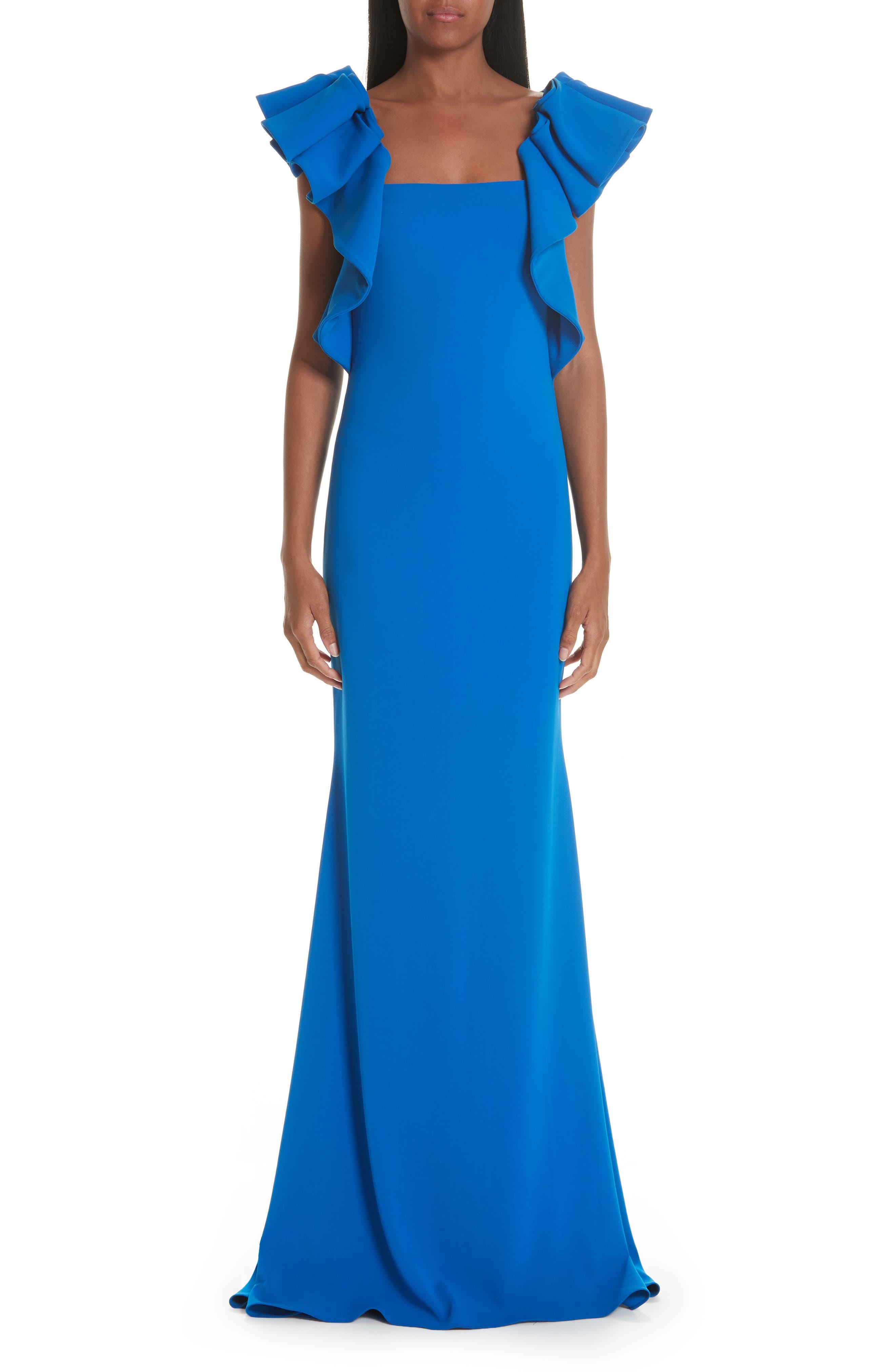 Badgley Mischka Collection Ruffle Shoulder Evening Dress, Blue