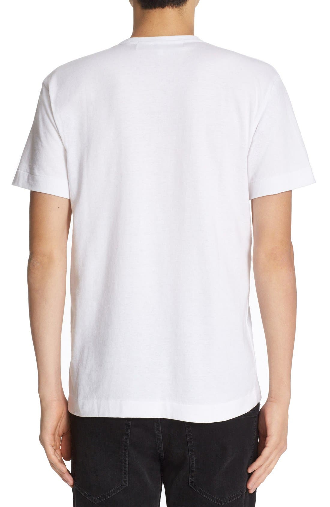 COMME DES GARÇONS PLAY, Heart Face Graphic T-Shirt, Alternate thumbnail 3, color, WHITE