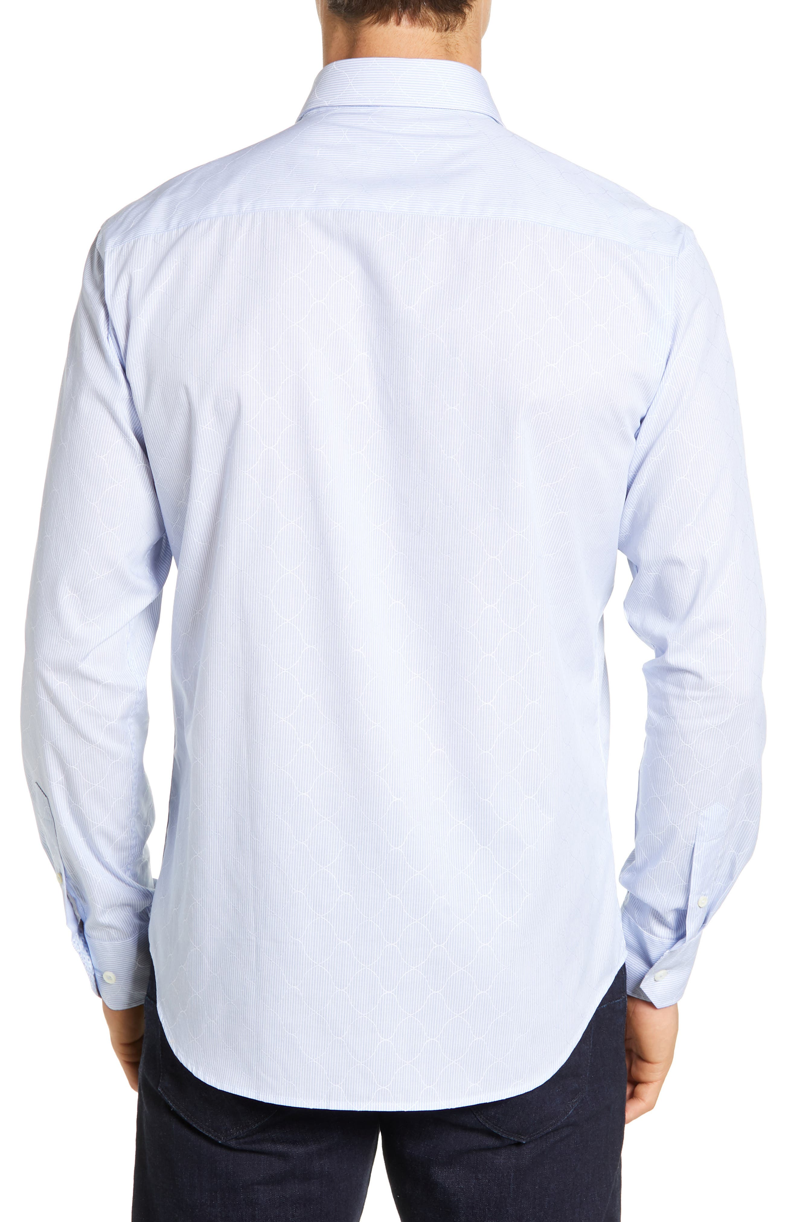 BUGATCHI, Shaped Fit Stripe Sport Shirt, Alternate thumbnail 3, color, SKY