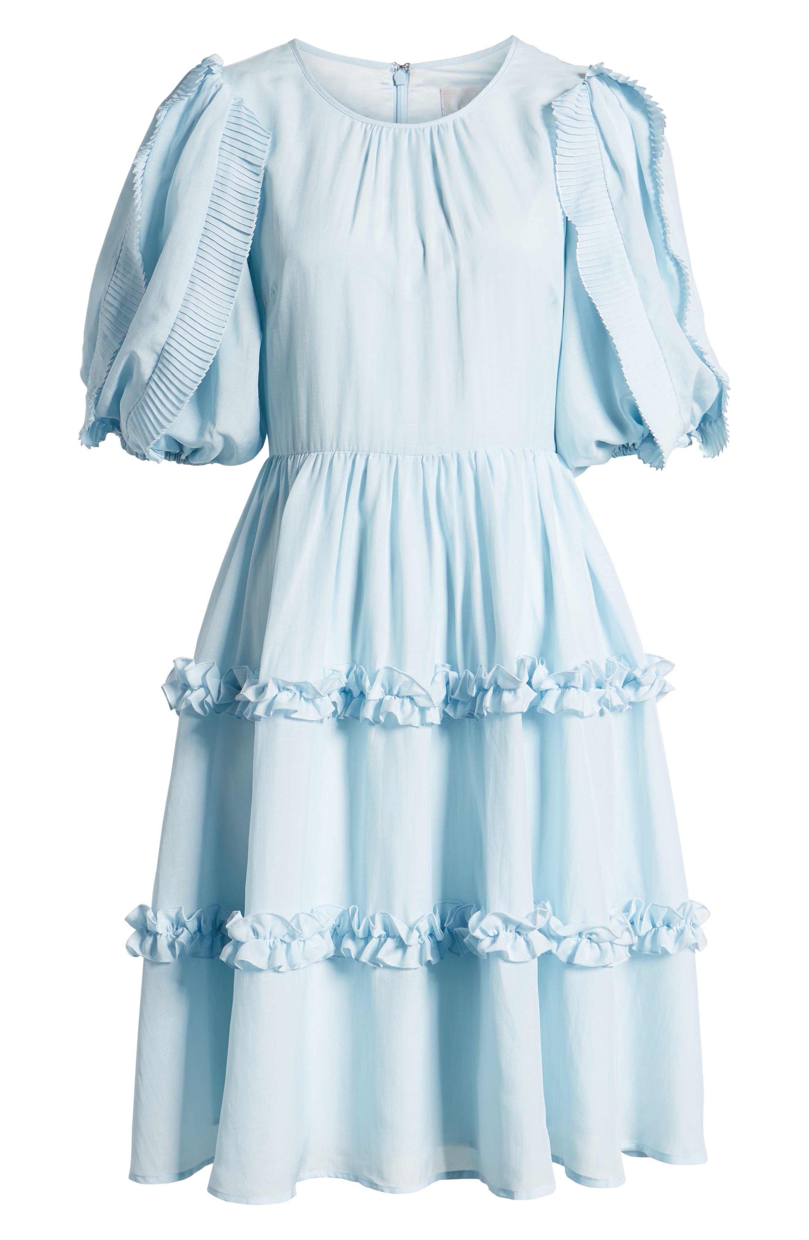 RACHEL PARCELL, Ruffle Sleeve Dress, Alternate thumbnail 7, color, BLUE WINTER