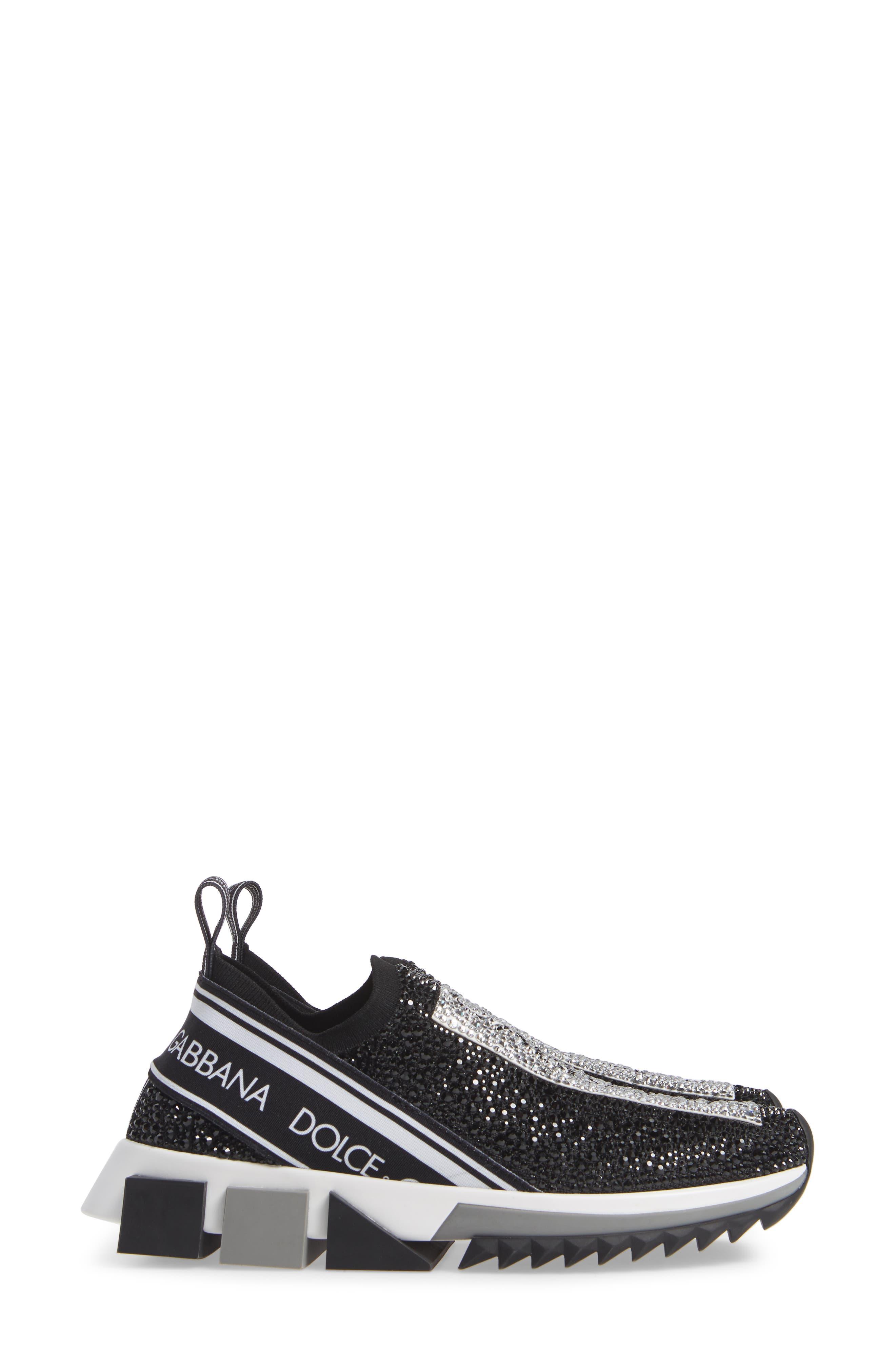 DOLCE&GABBANA, Sorrento Jeweled Logo Sneaker, Alternate thumbnail 4, color, 040