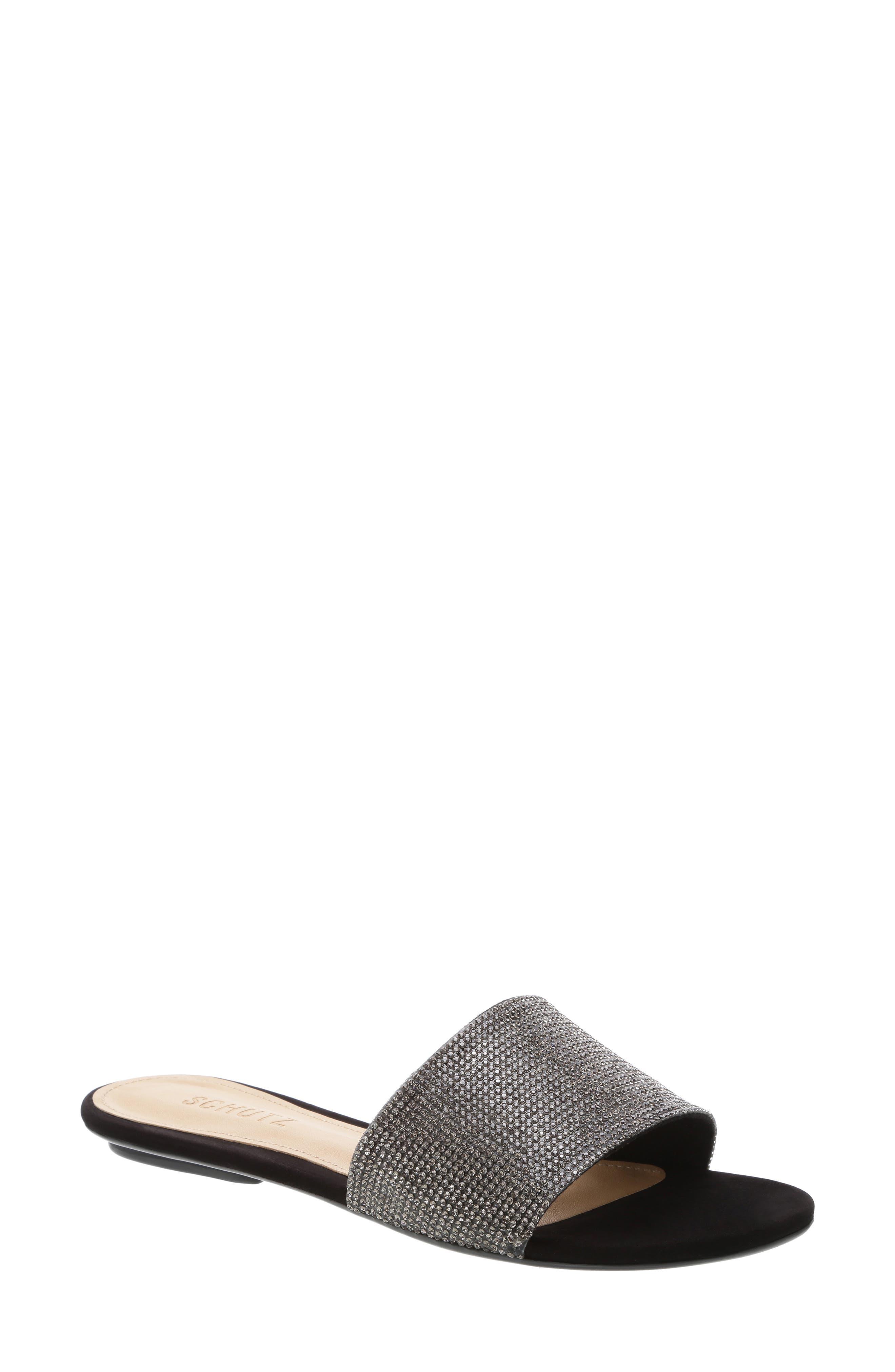 SCHUTZ, Queren Embellished Slide Sandal, Main thumbnail 1, color, BLACK/ BLACK DIAMOND FABRIC