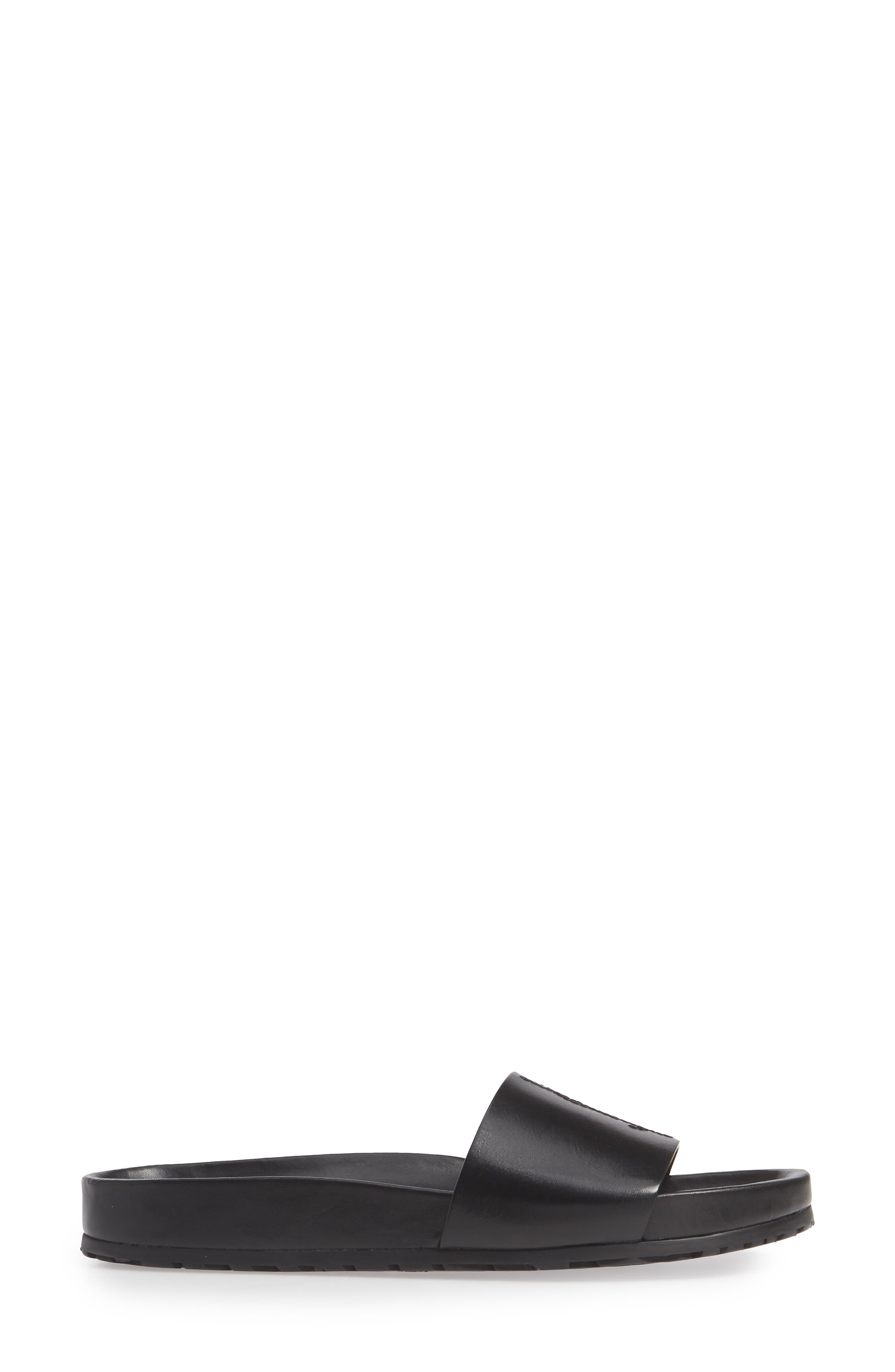 SAINT LAURENT, Jimmy Logo Slide Sandal, Alternate thumbnail 3, color, BLACK LEATHER