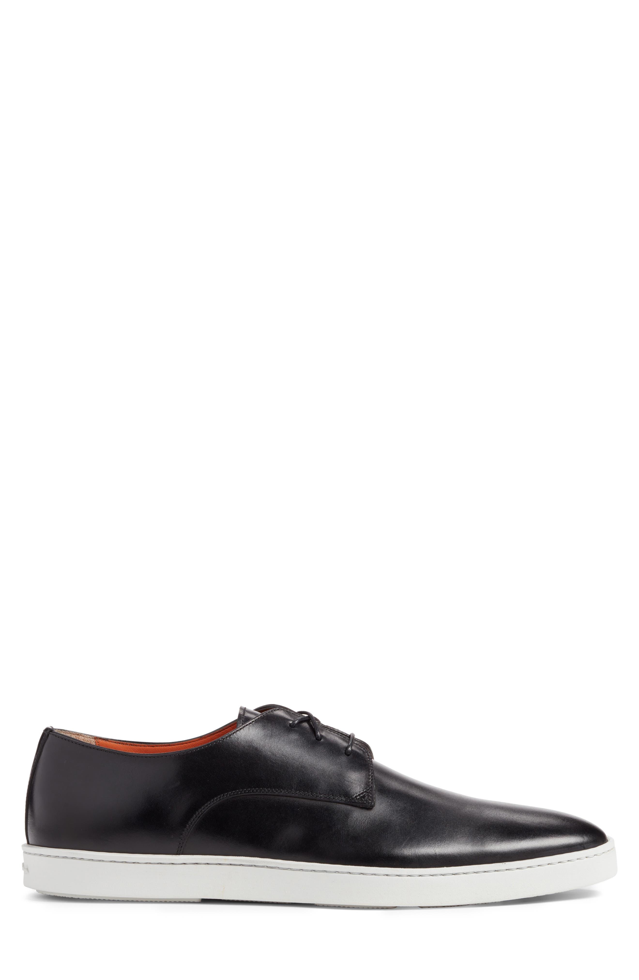 SANTONI, Doyle Sneaker, Alternate thumbnail 3, color, BLACK LEATHER