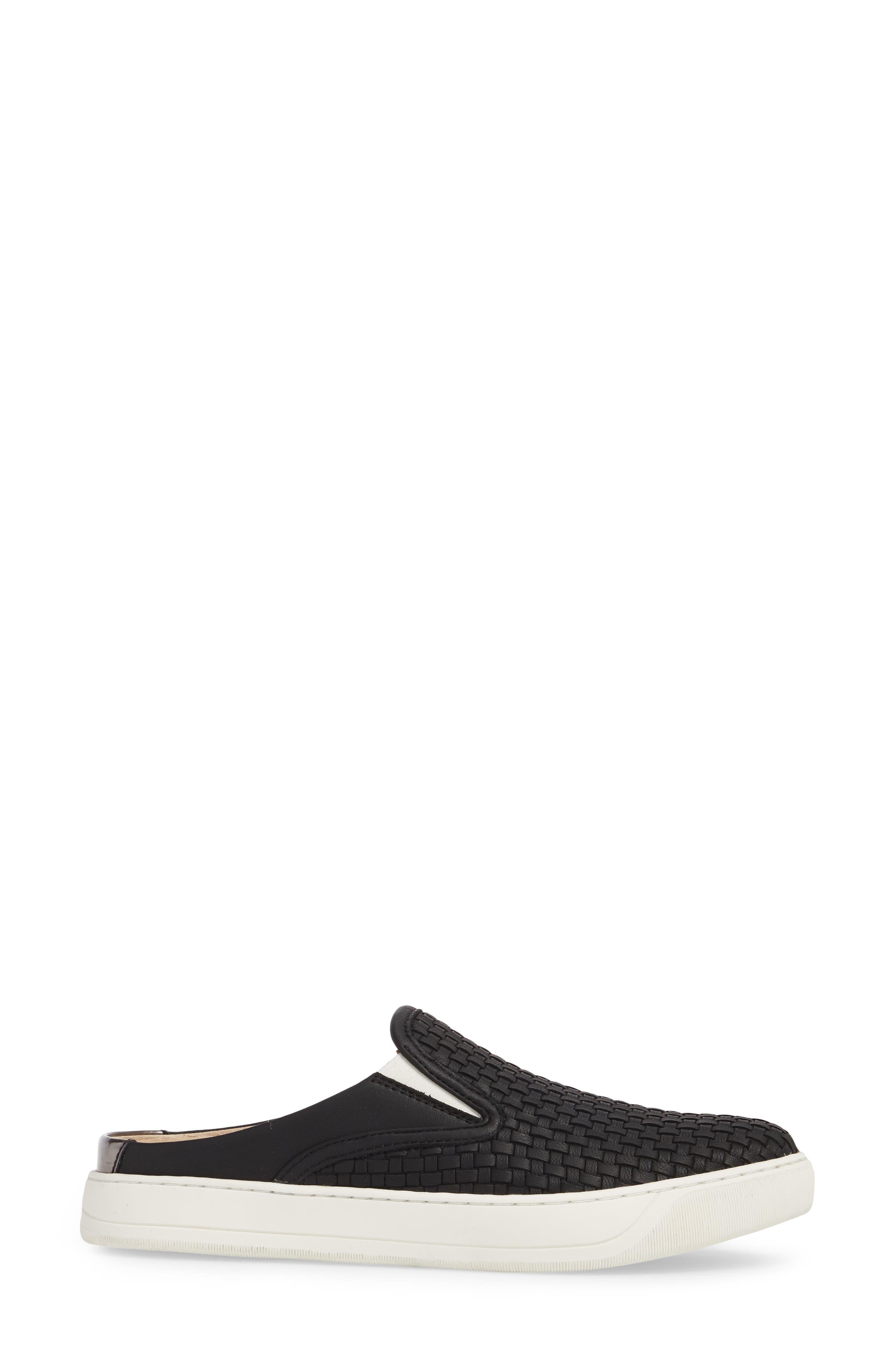 JOHNSTON & MURPHY, Evie Slip-On Sneaker, Alternate thumbnail 3, color, BLACK LEATHER