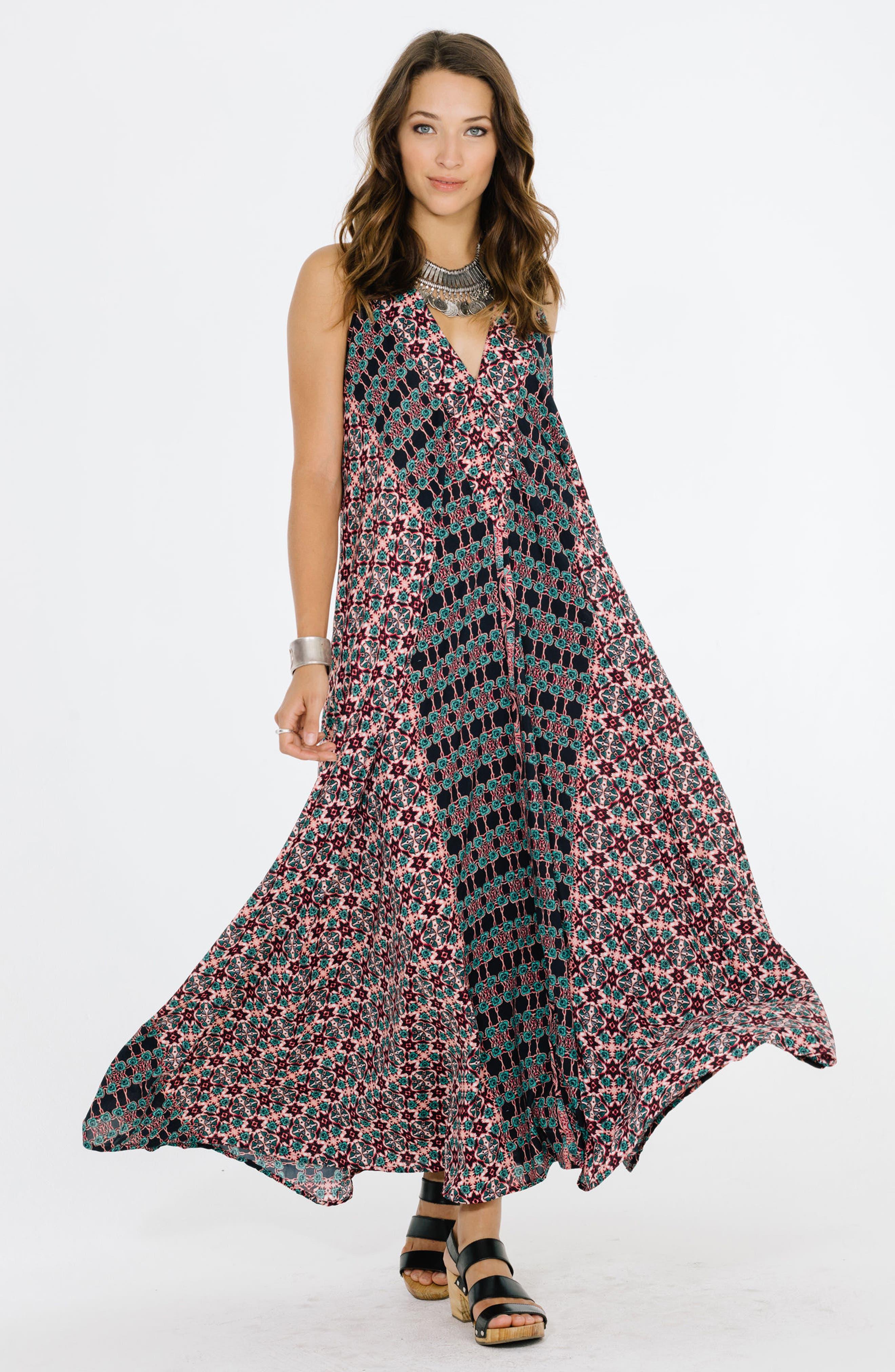 RAGA, Electric Nights Halter Maxi Dress, Alternate thumbnail 6, color, 001