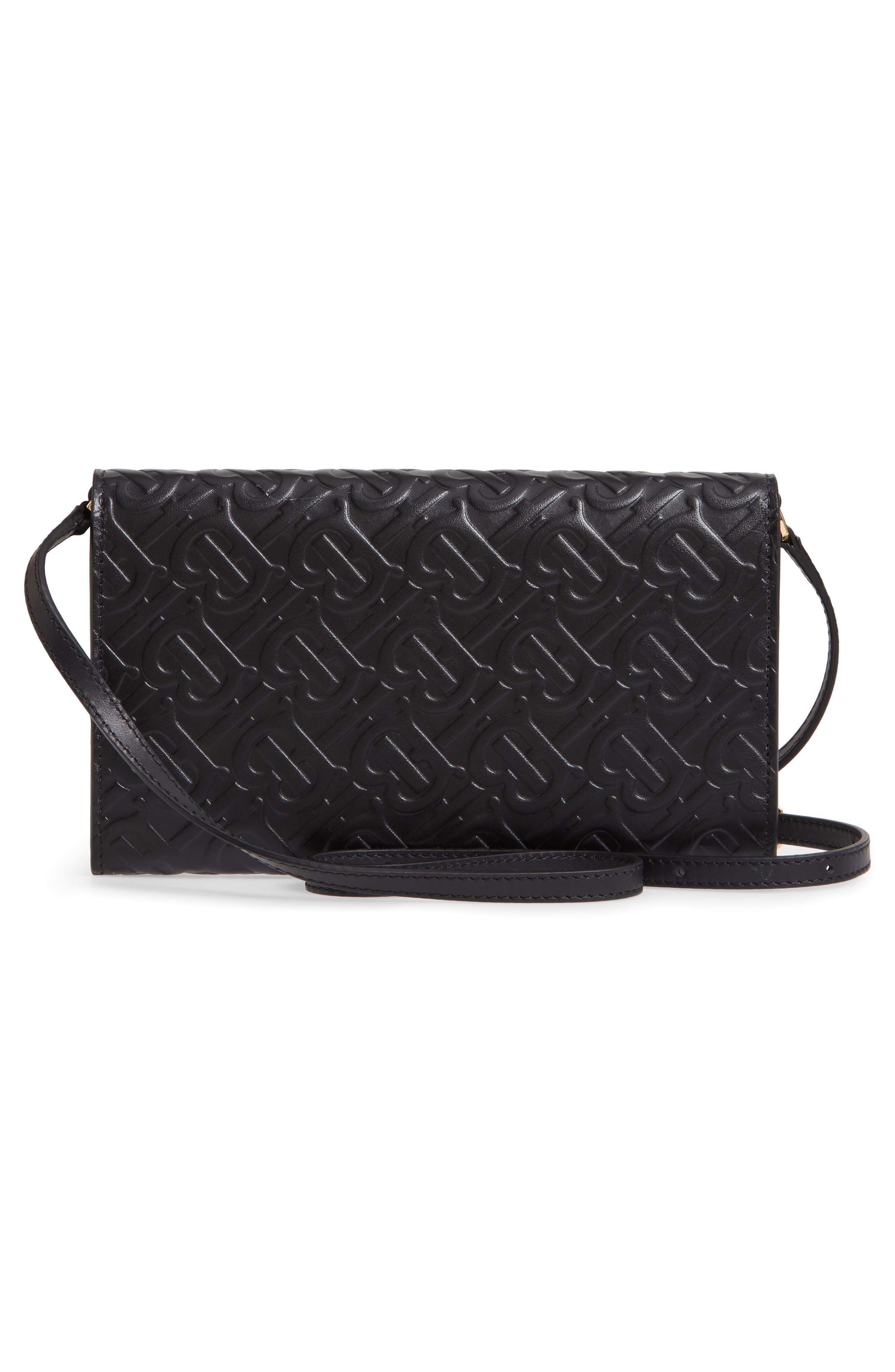 BURBERRY, Monogram Embossed Leather Crossbody Wallet, Alternate thumbnail 3, color, BLACK