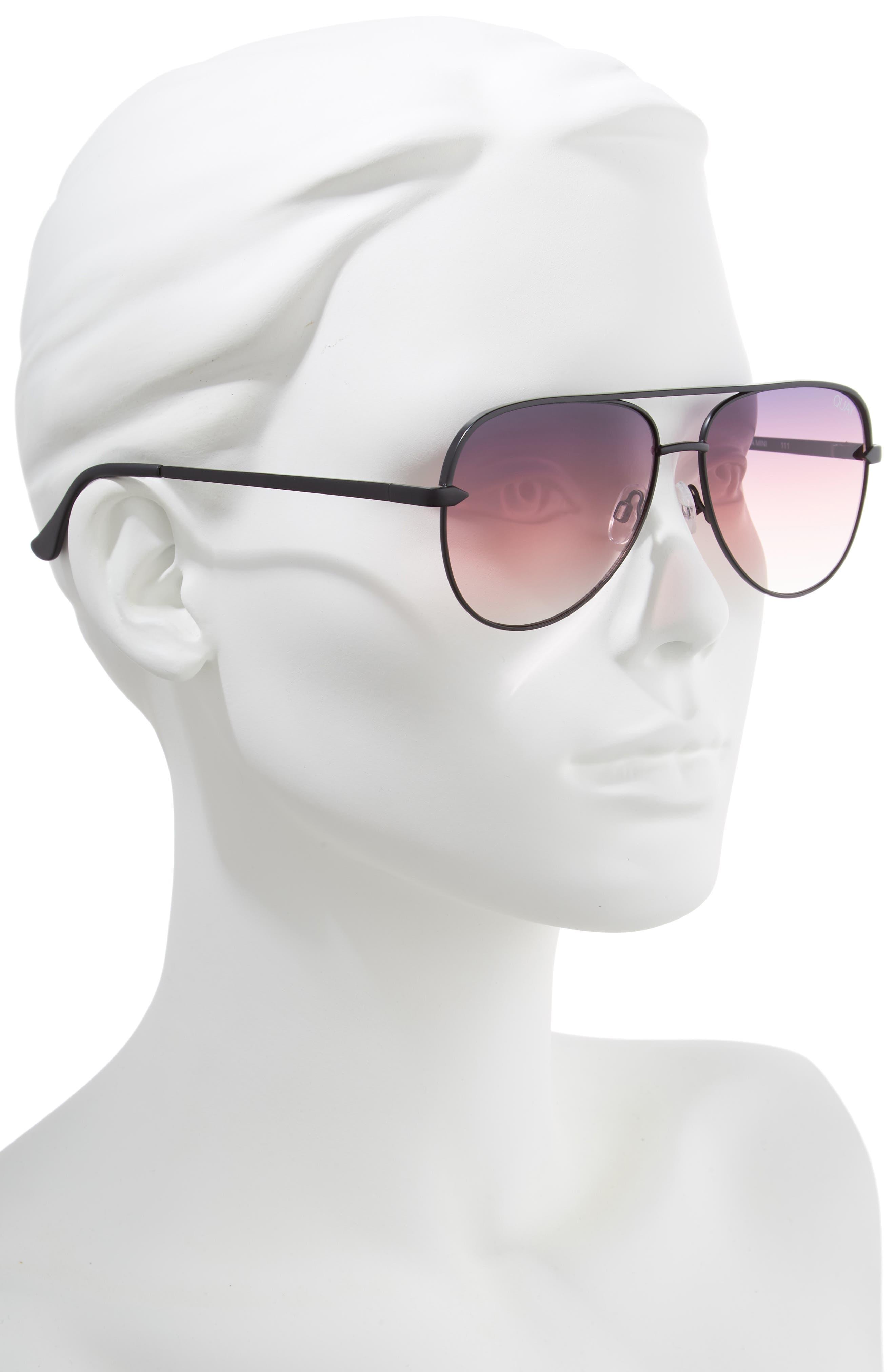 QUAY AUSTRALIA, x Desi Perkins Sahara Mini 52mm Aviator Sunglasses, Alternate thumbnail 2, color, BLACK/ PURPLE FADE