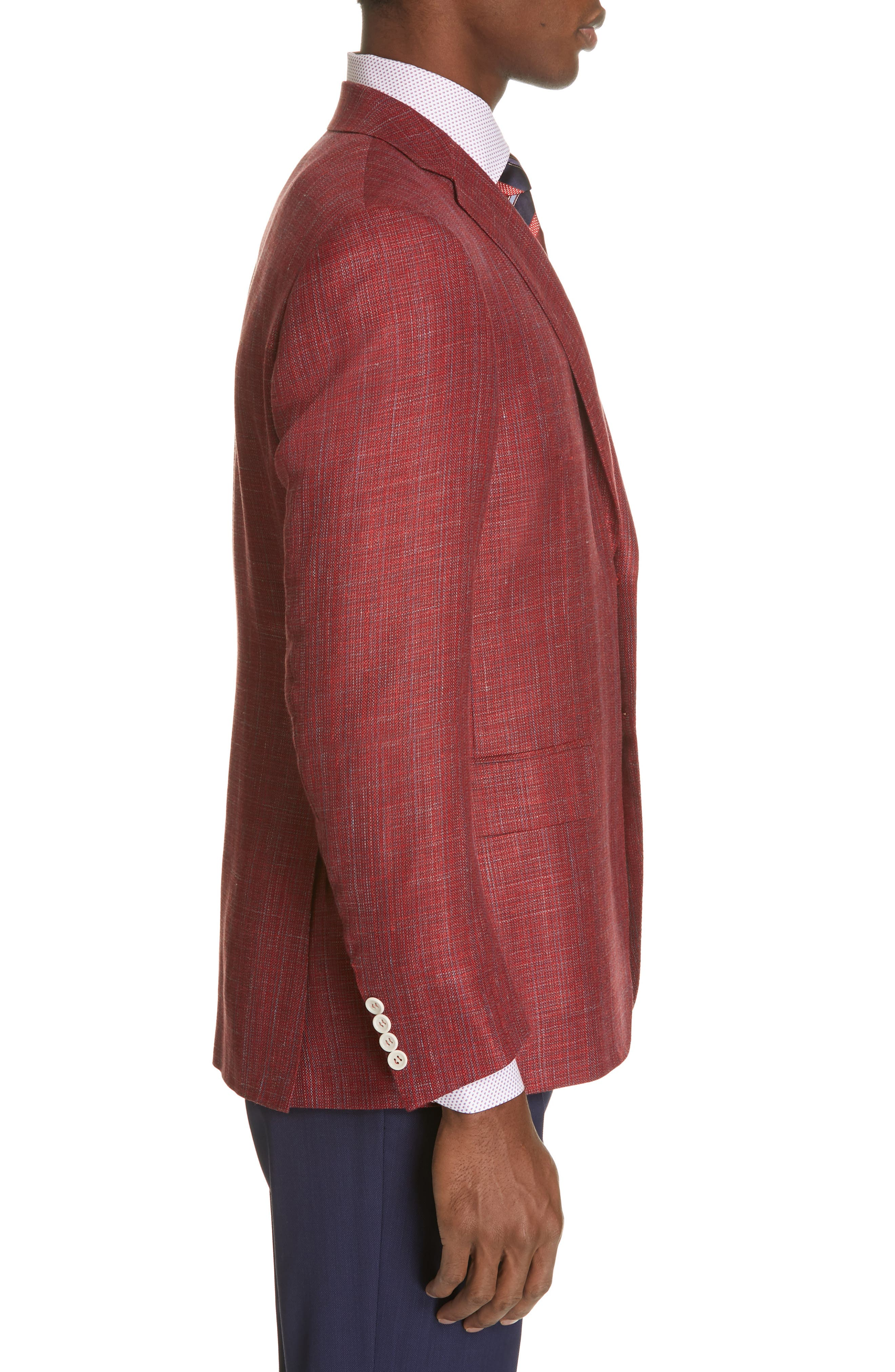 CANALI, Siena Classic Fit Wool, Silk & Linen Blend Sport Coat, Alternate thumbnail 3, color, RED