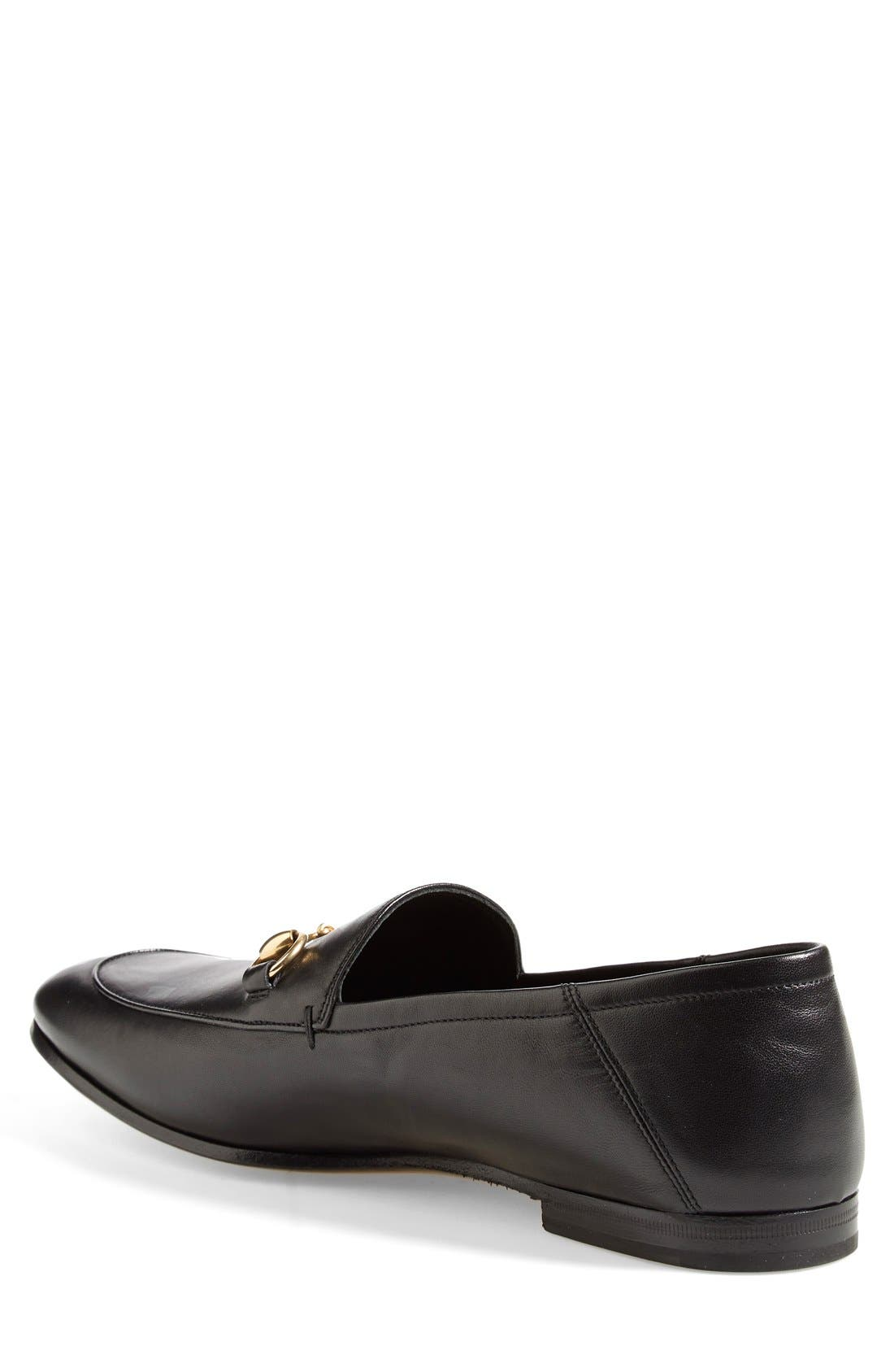 GUCCI, Brixton Leather Loafer, Alternate thumbnail 3, color, NERO LEATHER