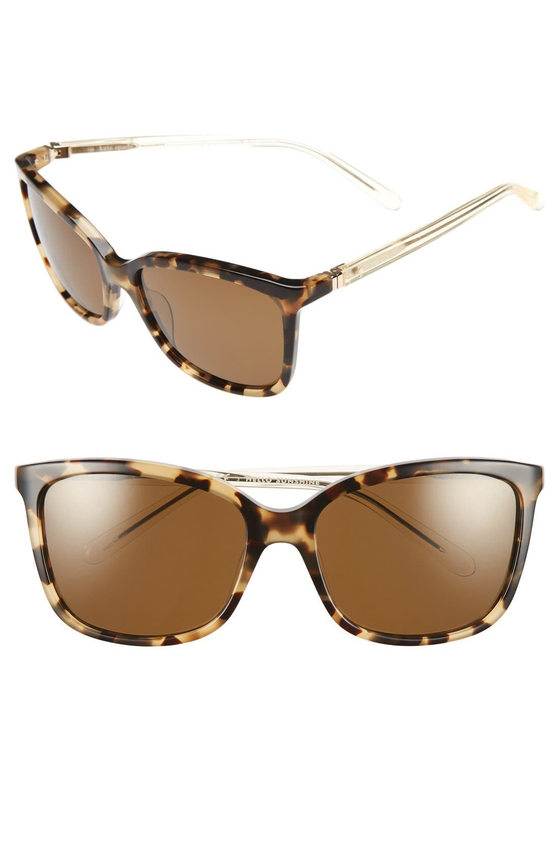 KATE SPADE NEW YORK, kasie 55mm polarized sunglasses, Main thumbnail 1, color, HAVANA/ HONEY