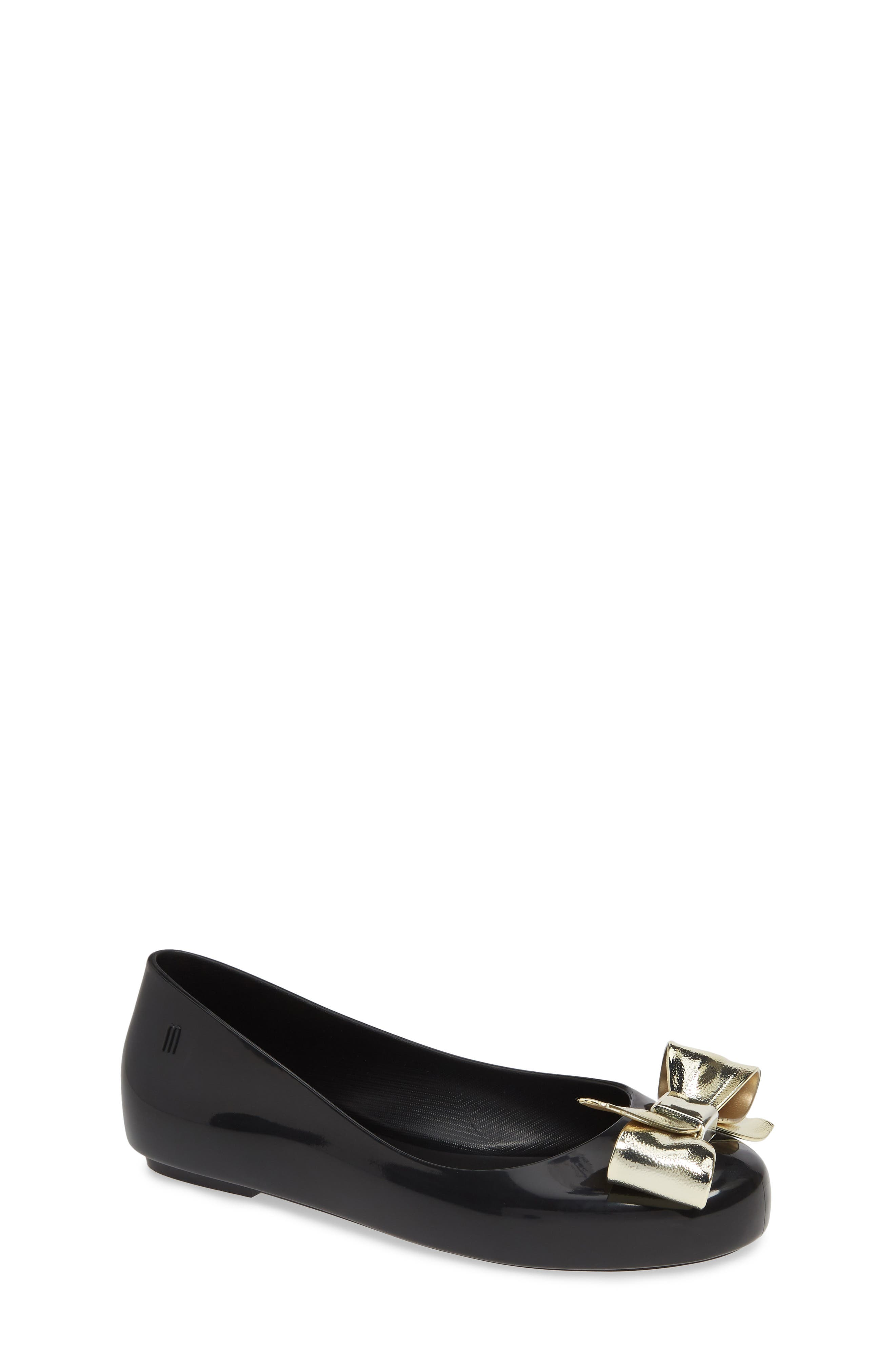 MEL BY MELISSA, Space Love II Bow Flat, Main thumbnail 1, color, BLACK GOLD