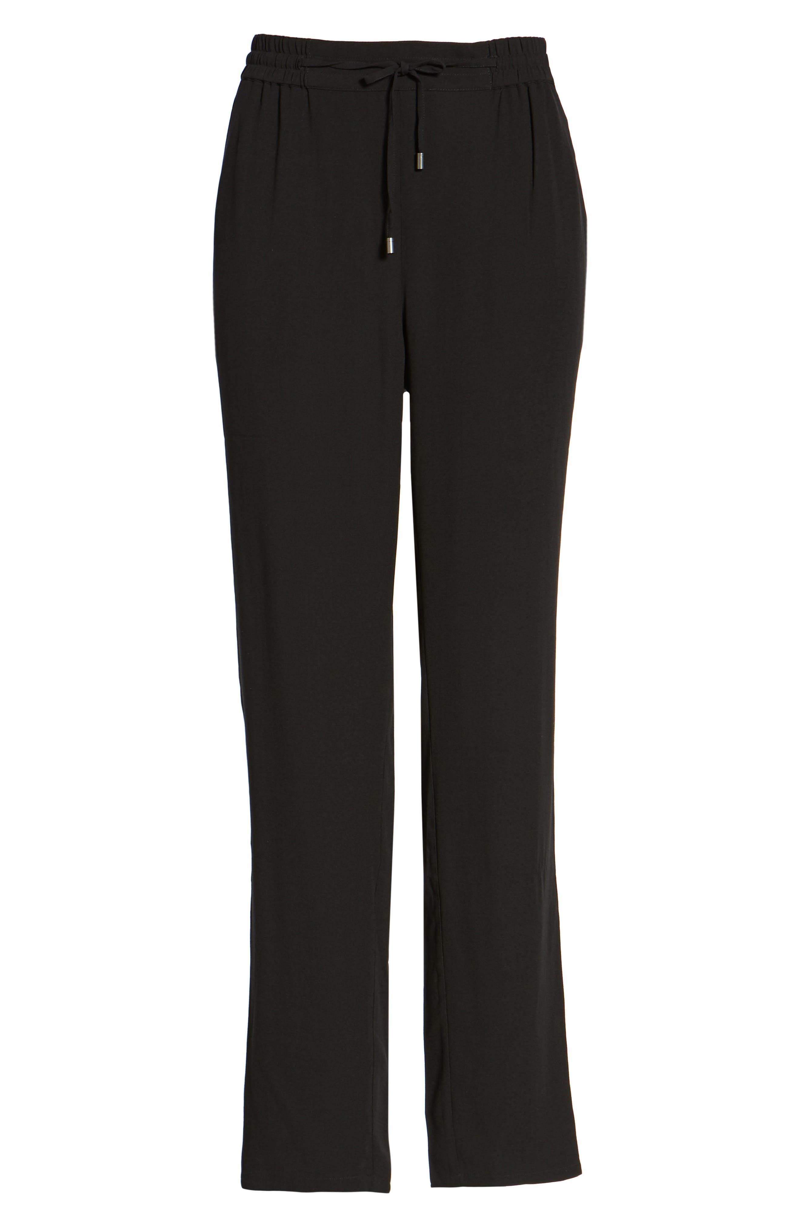 EILEEN FISHER, Silk Crepe Ankle Pants, Main thumbnail 1, color, 001