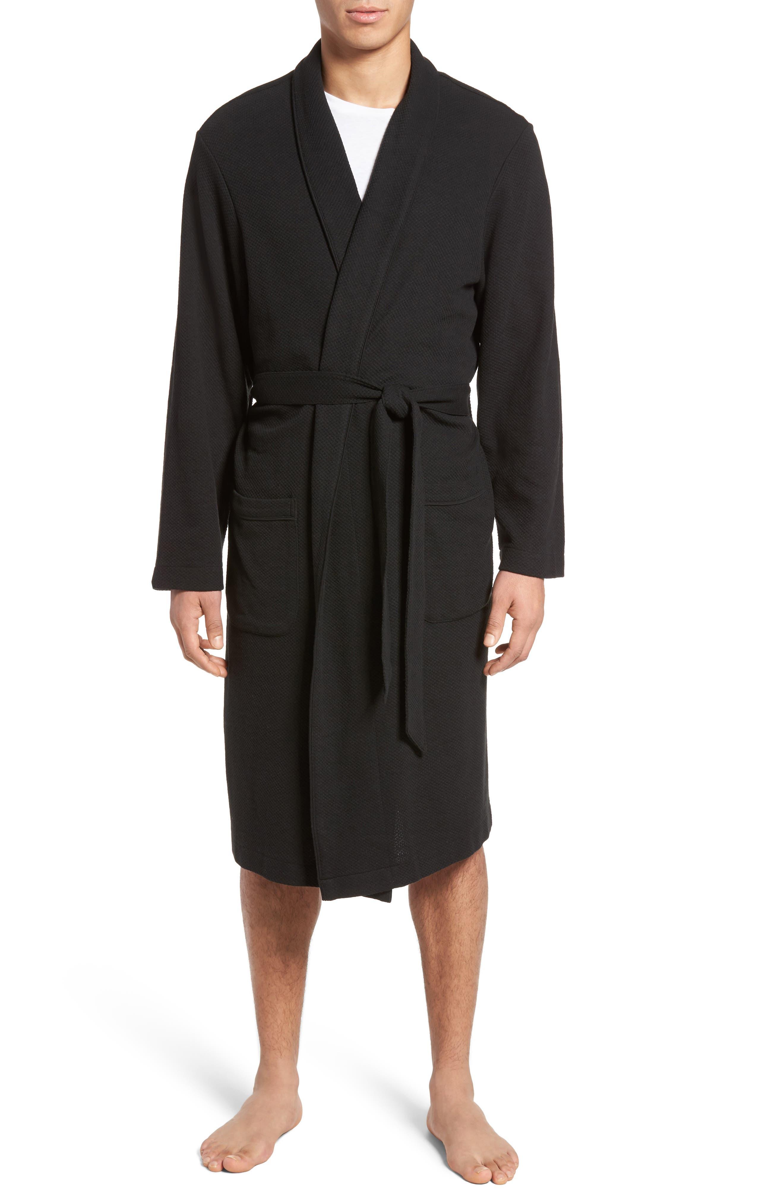 NORDSTROM MEN'S SHOP, Thermal Robe, Main thumbnail 1, color, 001