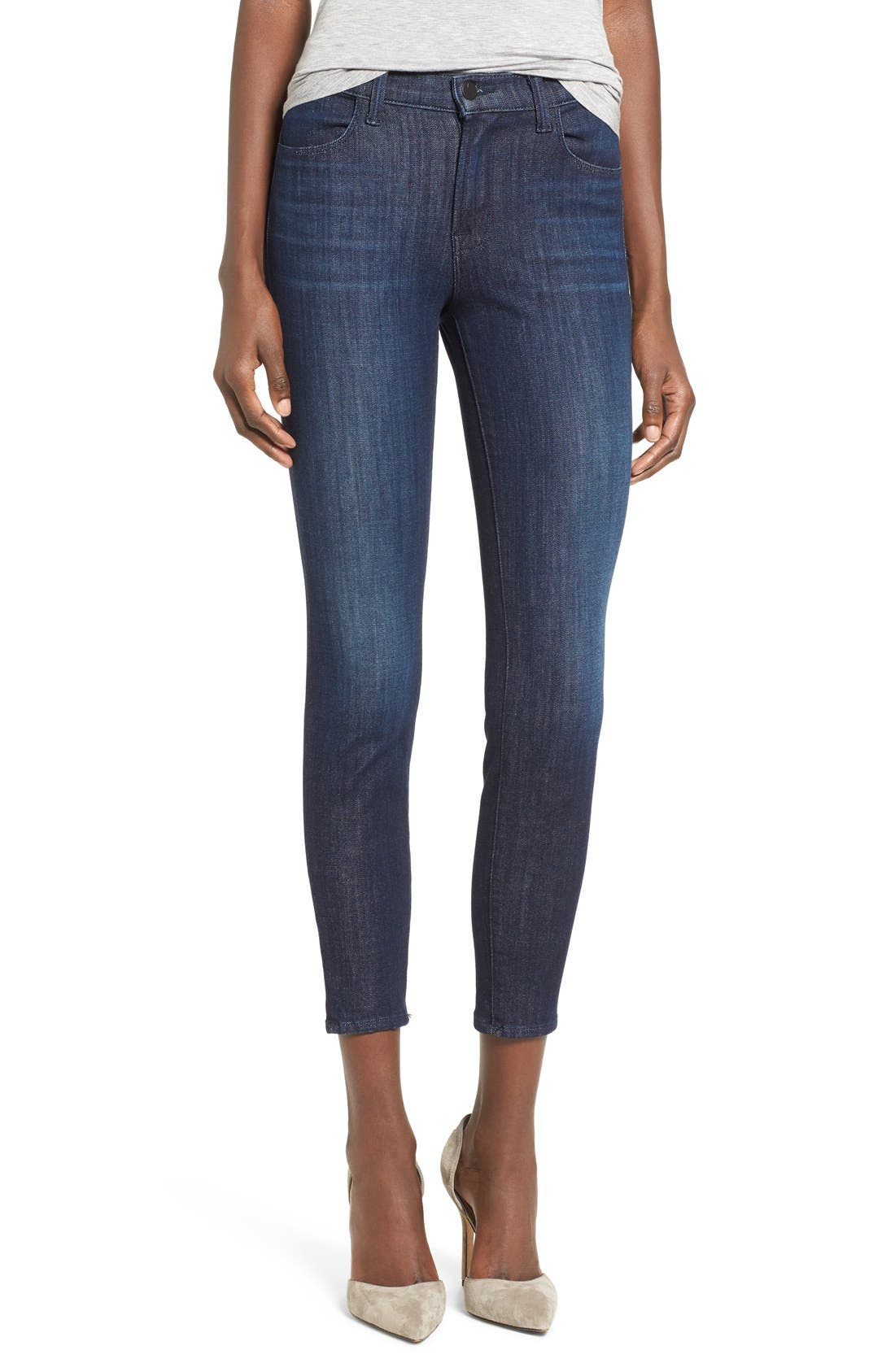 J BRAND, Alana Ripped High Rise Crop Skinny Jeans, Main thumbnail 1, color, 408