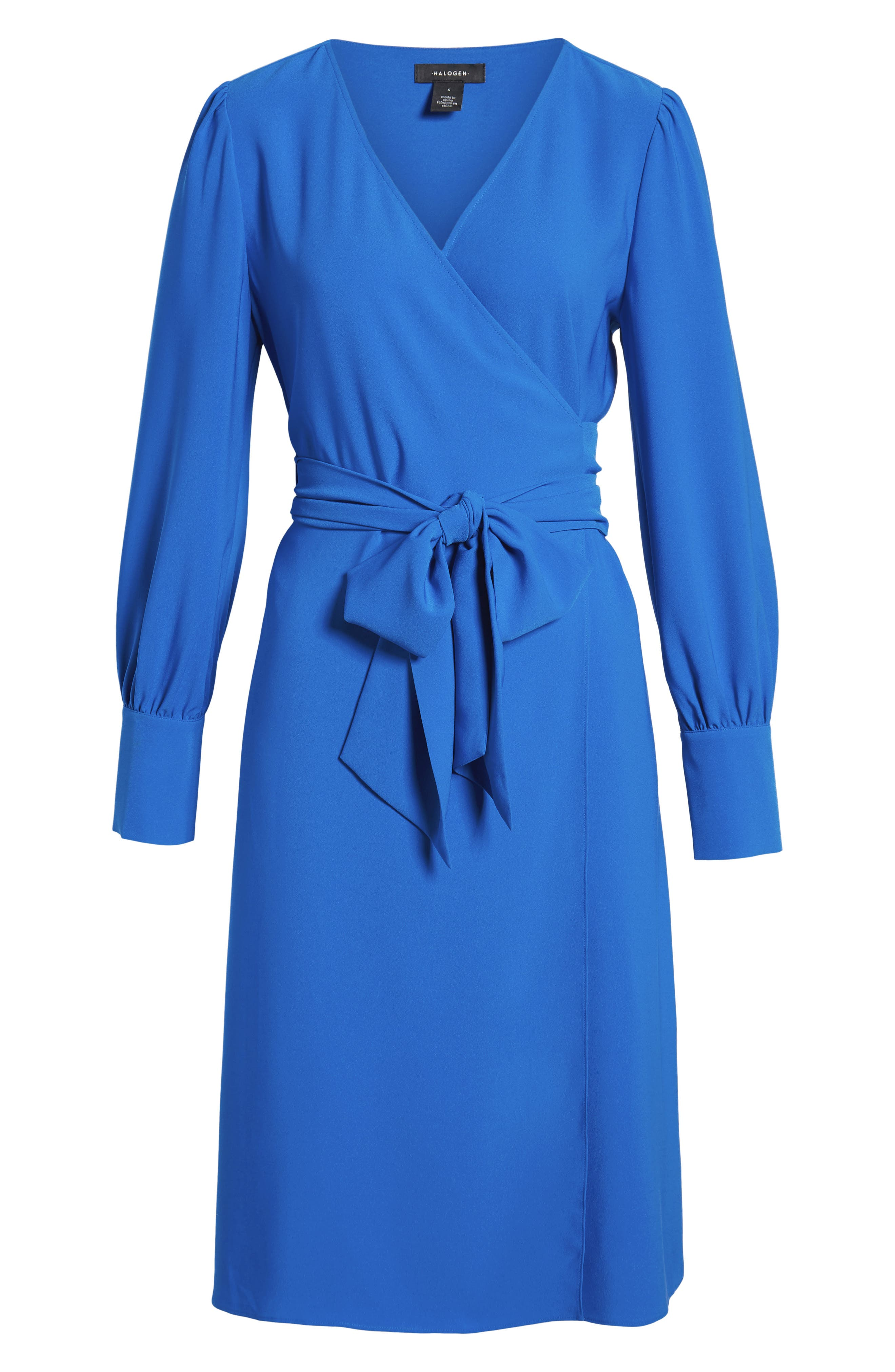 HALOGEN<SUP>®</SUP>, Wrap Dress, Alternate thumbnail 7, color, BLUE VICTORIA