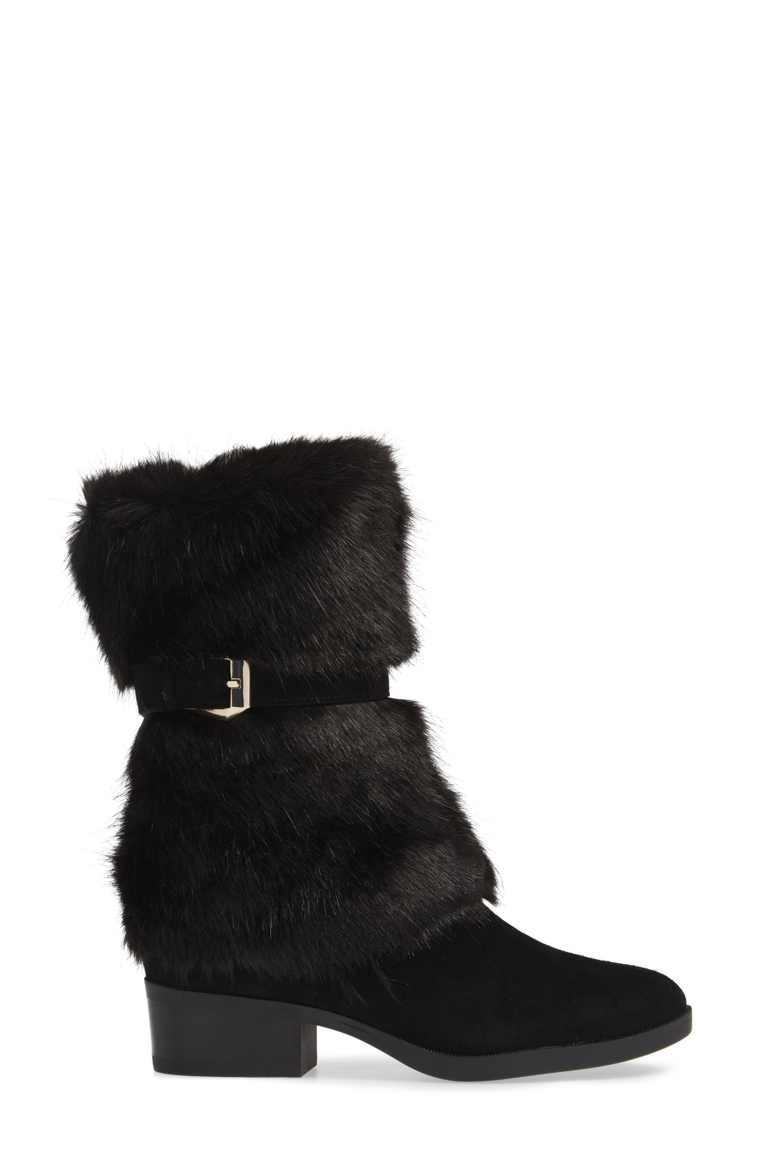 TARYN ROSE, Giselle Water Resistant Faux Fur Boot, Alternate thumbnail 3, color, BLACK SUEDE