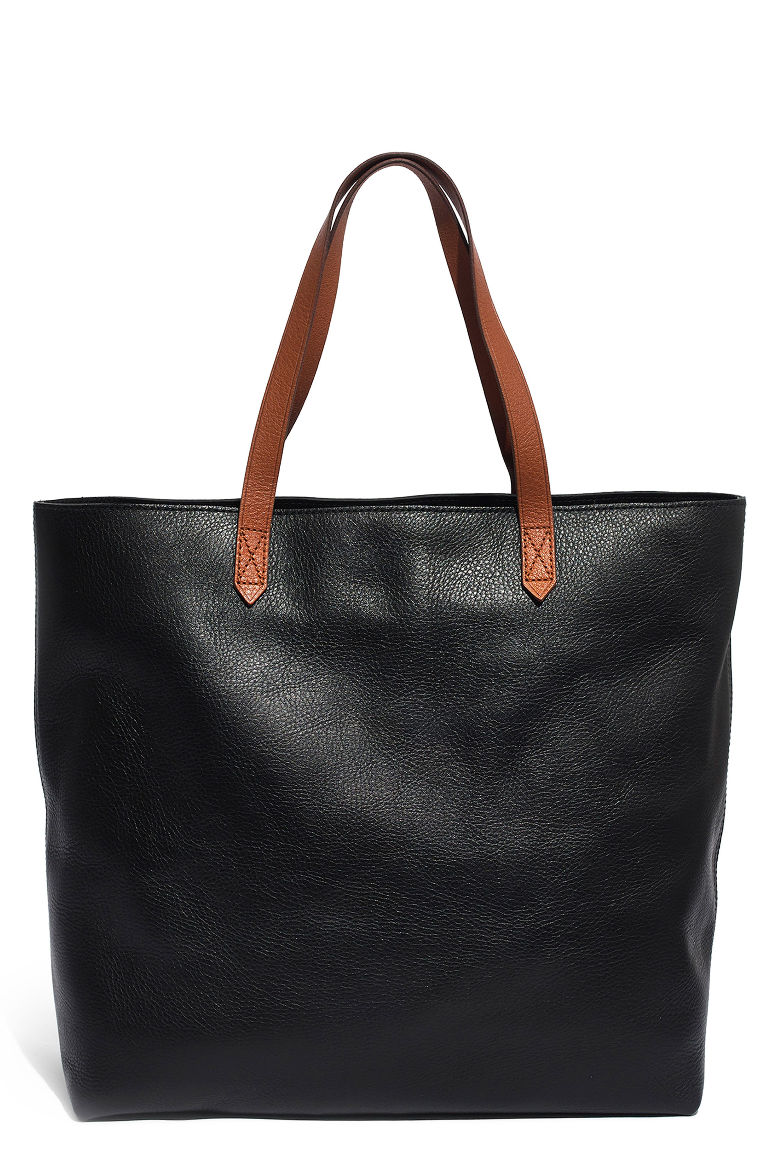 MADEWELL Zip Top Transport Leather Tote, Main, color, TRUE BLACK W/ BROWN