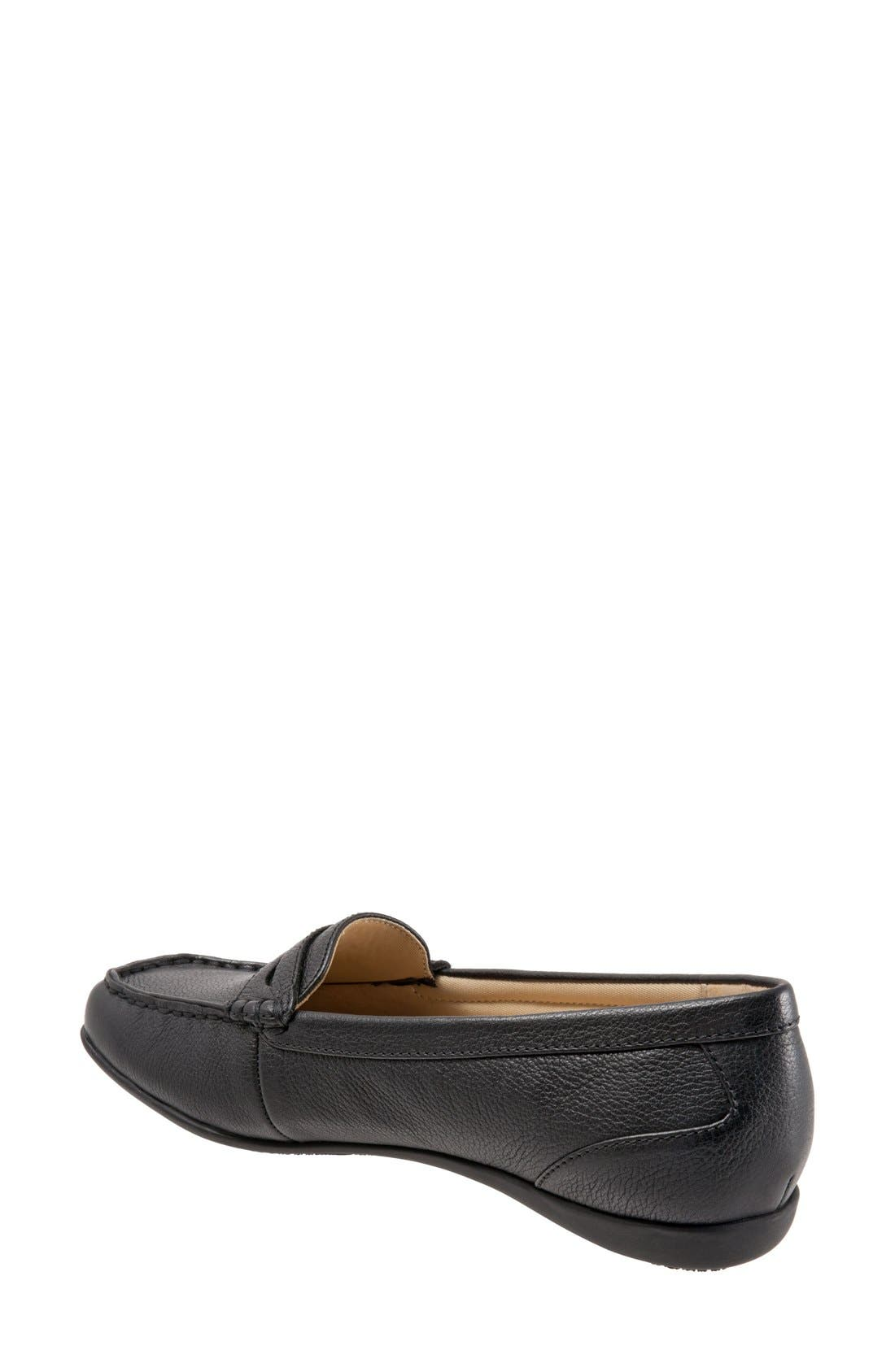 TROTTERS, 'Staci' Penny Loafer, Alternate thumbnail 2, color, BLACK LEATHER