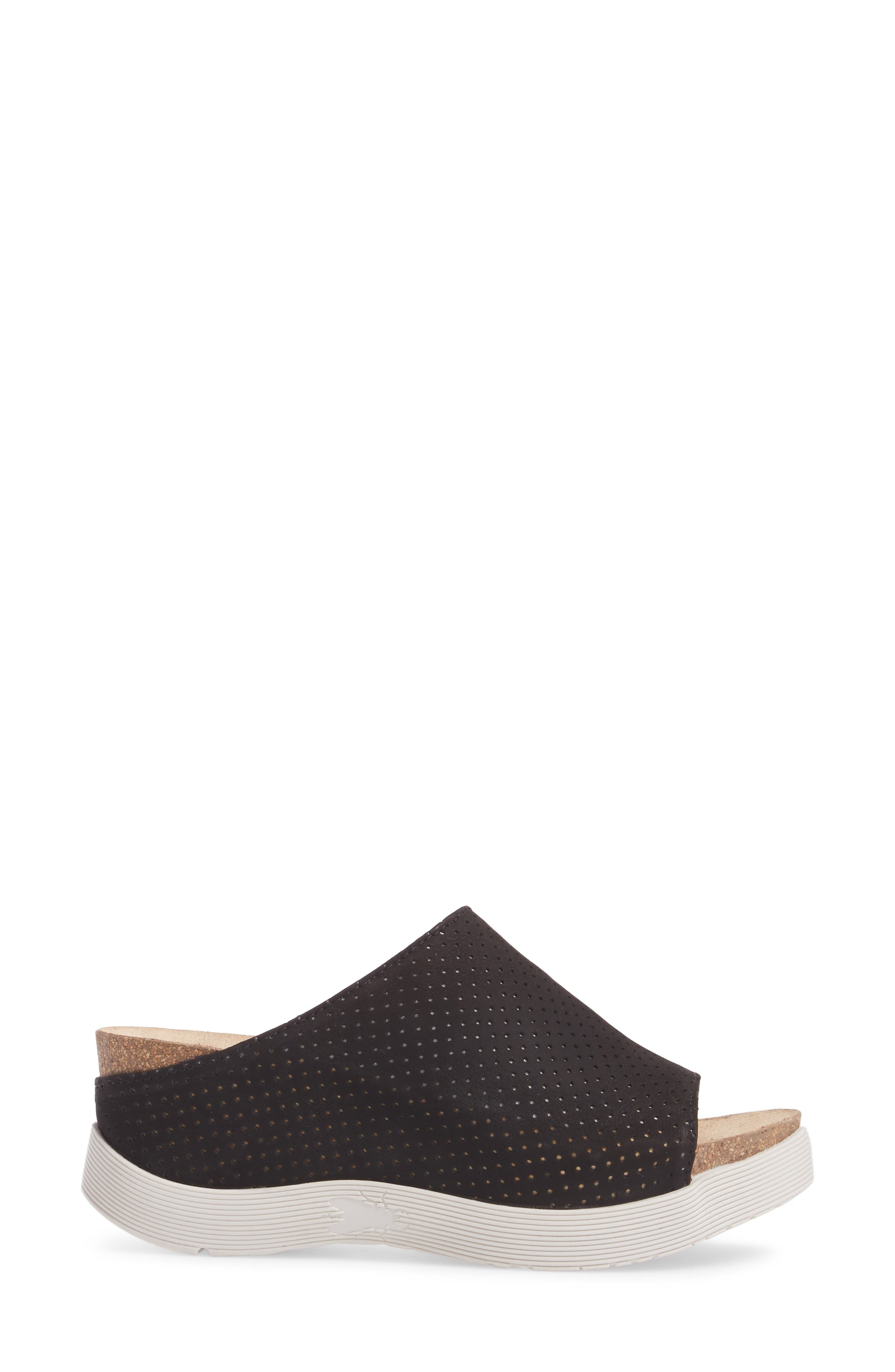 FLY LONDON, Whin Platform Sandal, Alternate thumbnail 3, color, BLACK CUPIDO LEATHER