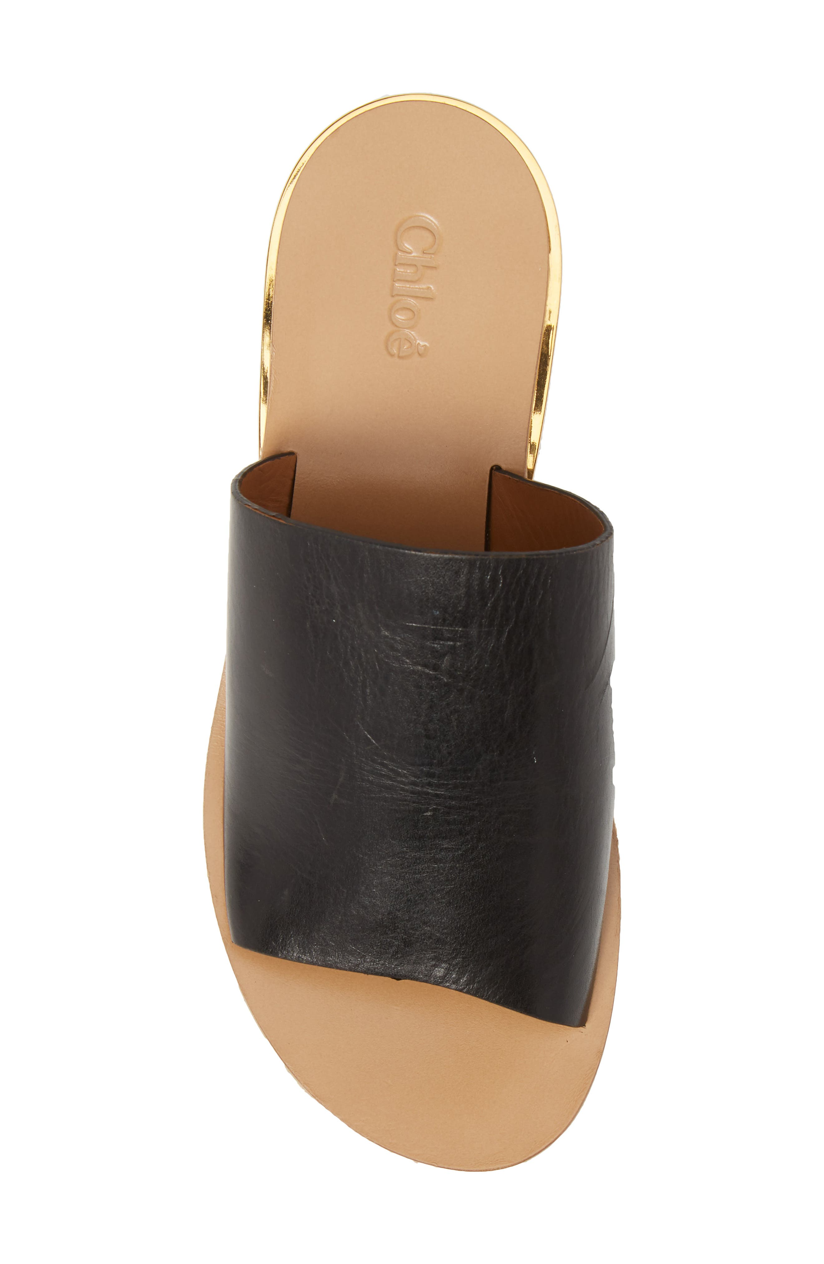 CHLOÉ, Camille Cork Platform Sandal, Alternate thumbnail 5, color, BLACK