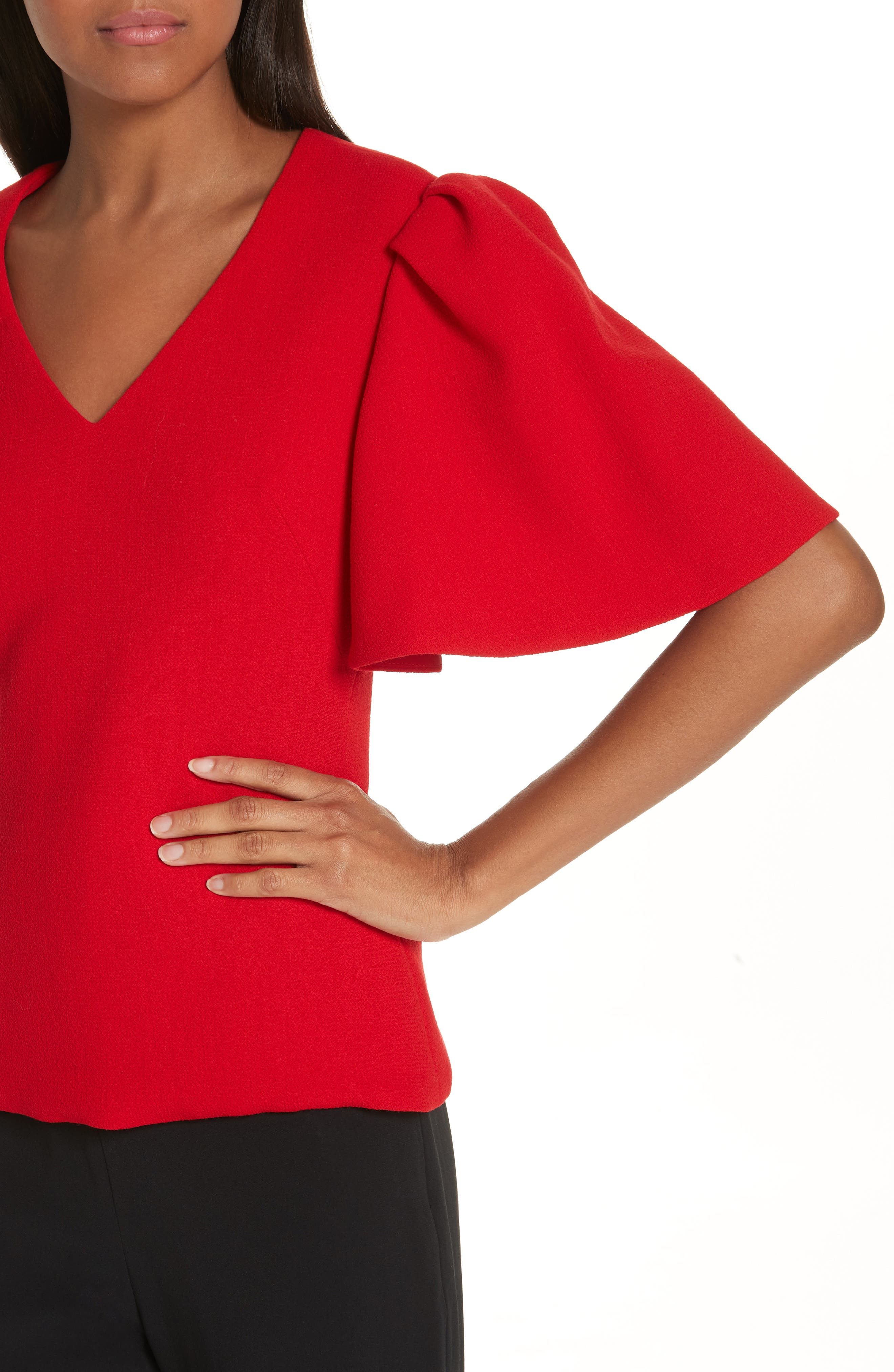 BRANDON MAXWELL, Flutter Sleeve Top, Alternate thumbnail 4, color, RED
