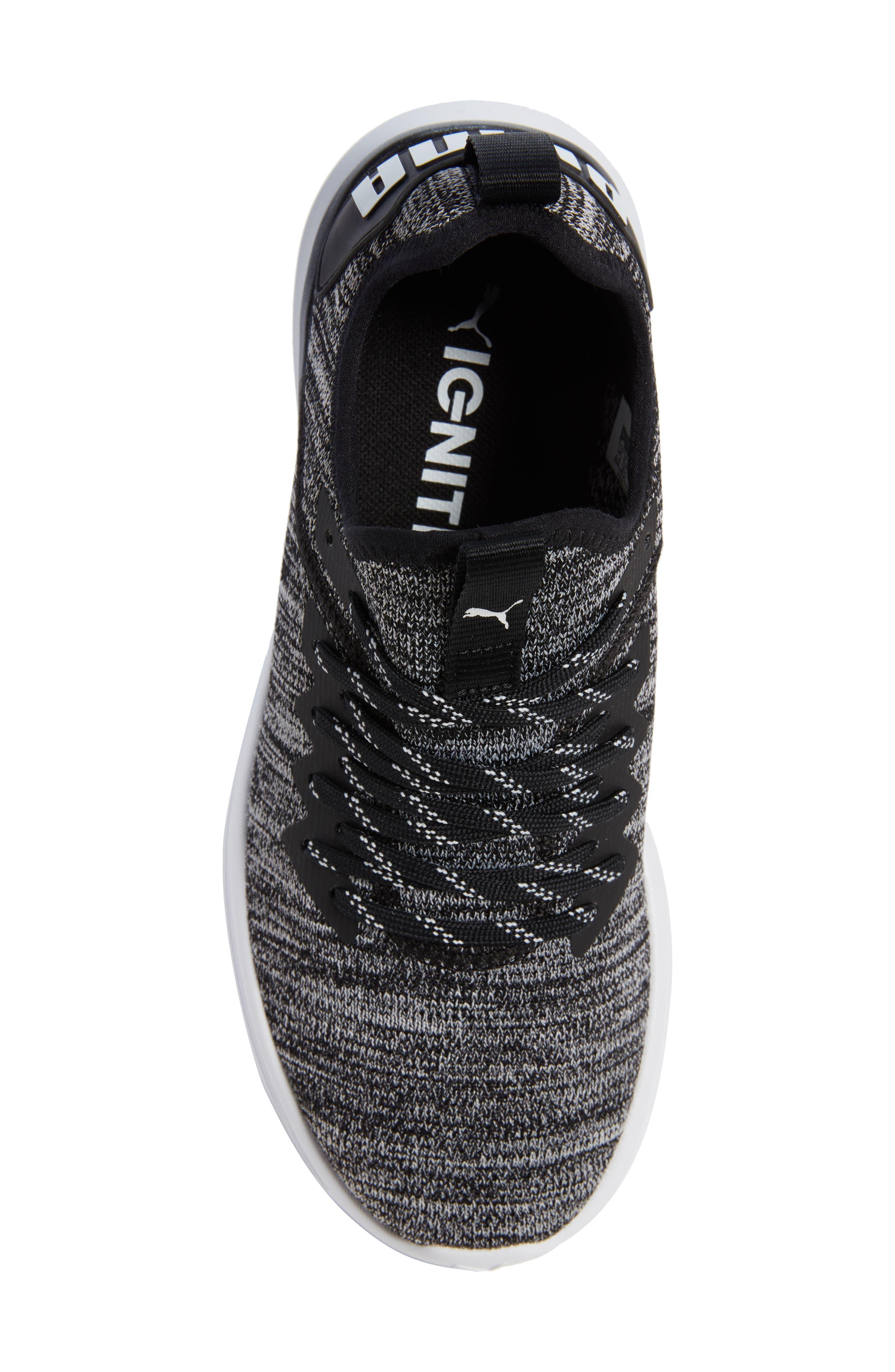 PUMA, IGNITE Flash evoKNIT Training Shoe, Alternate thumbnail 5, color, 001