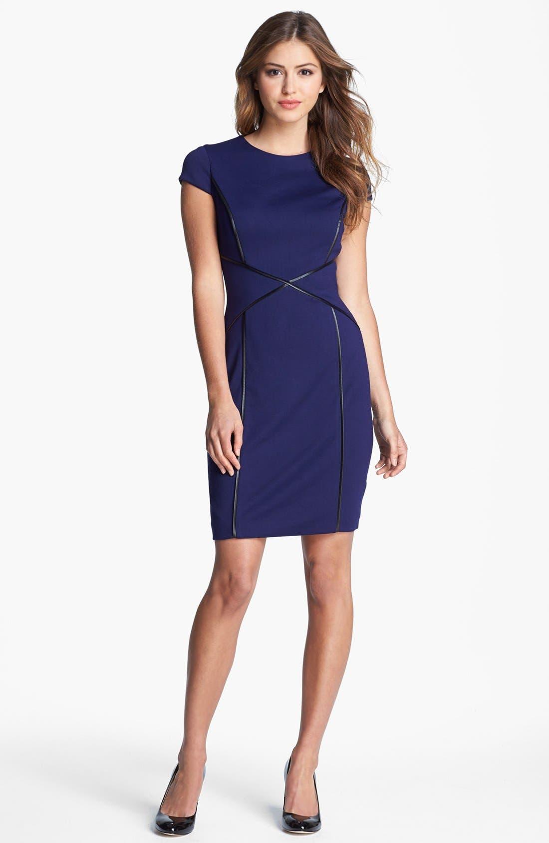 CYNTHIA STEFFE Cap Sleeve Faux Leather Trim Ponte Sheath Dress, Main, color, 508
