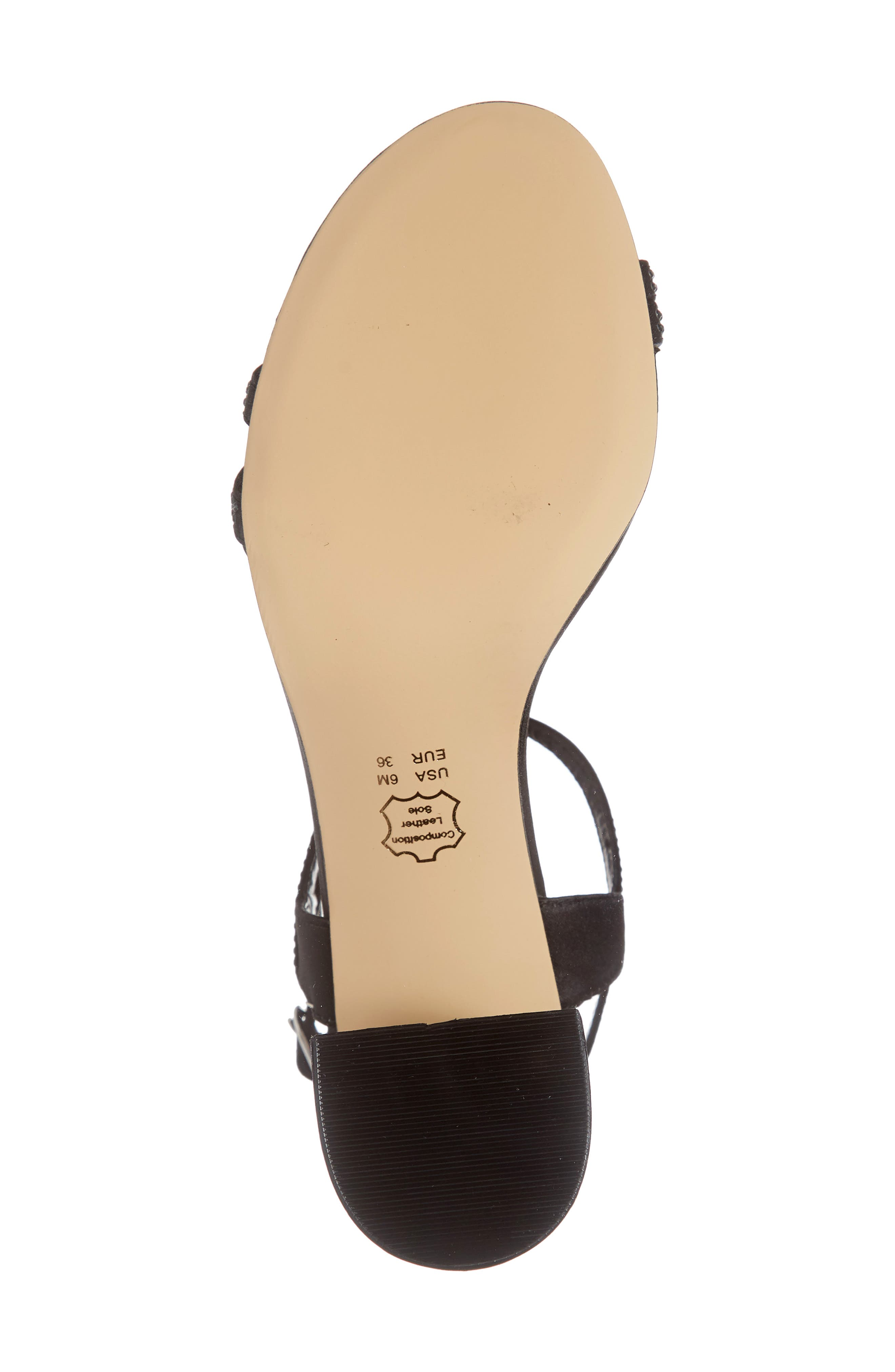 NINA, Naura Block Heel Sandal, Alternate thumbnail 6, color, BLACK SATIN