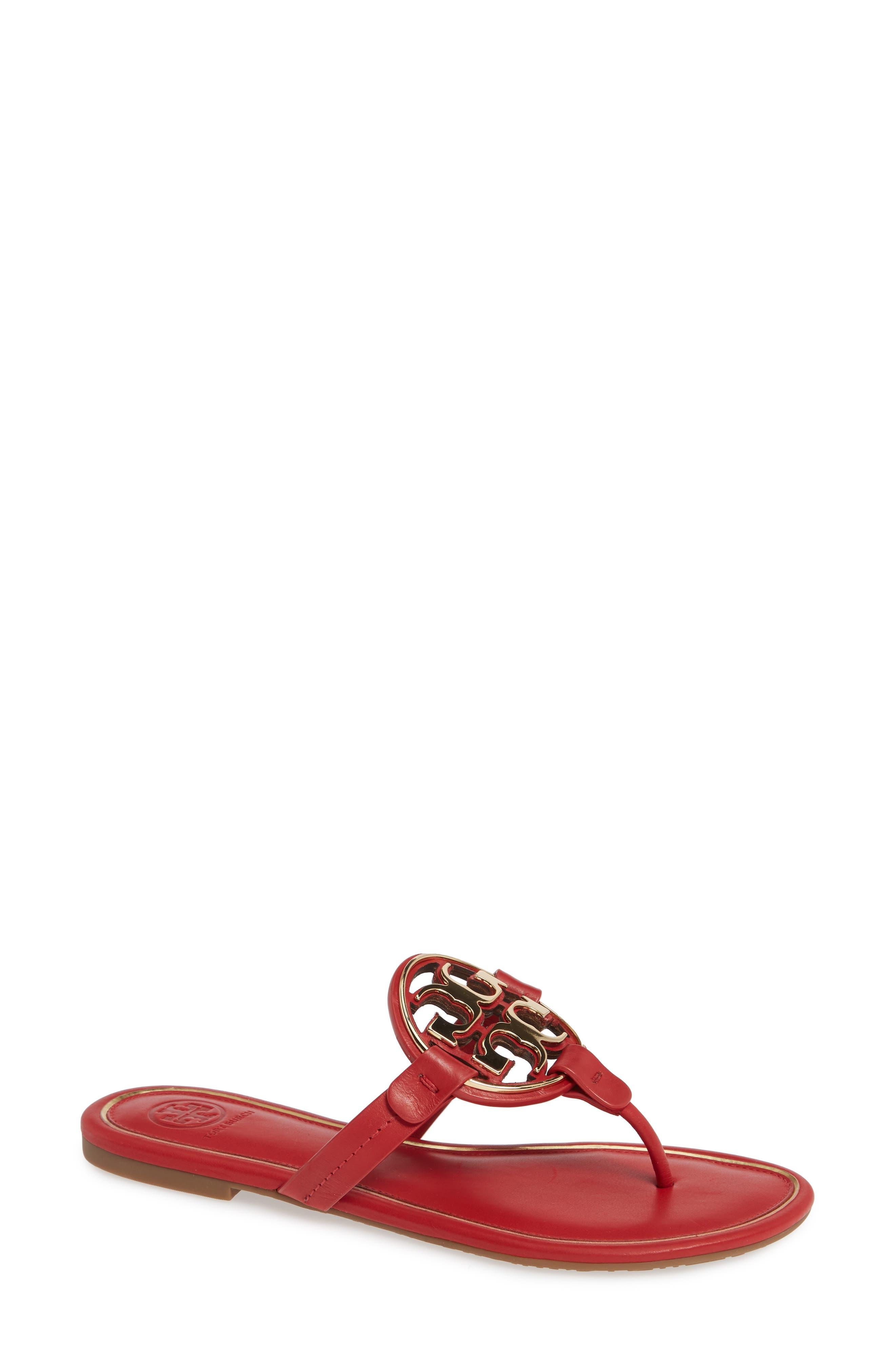TORY BURCH Metal Miller Flip Flop, Main, color, BRILLIANT RED/ GOLD