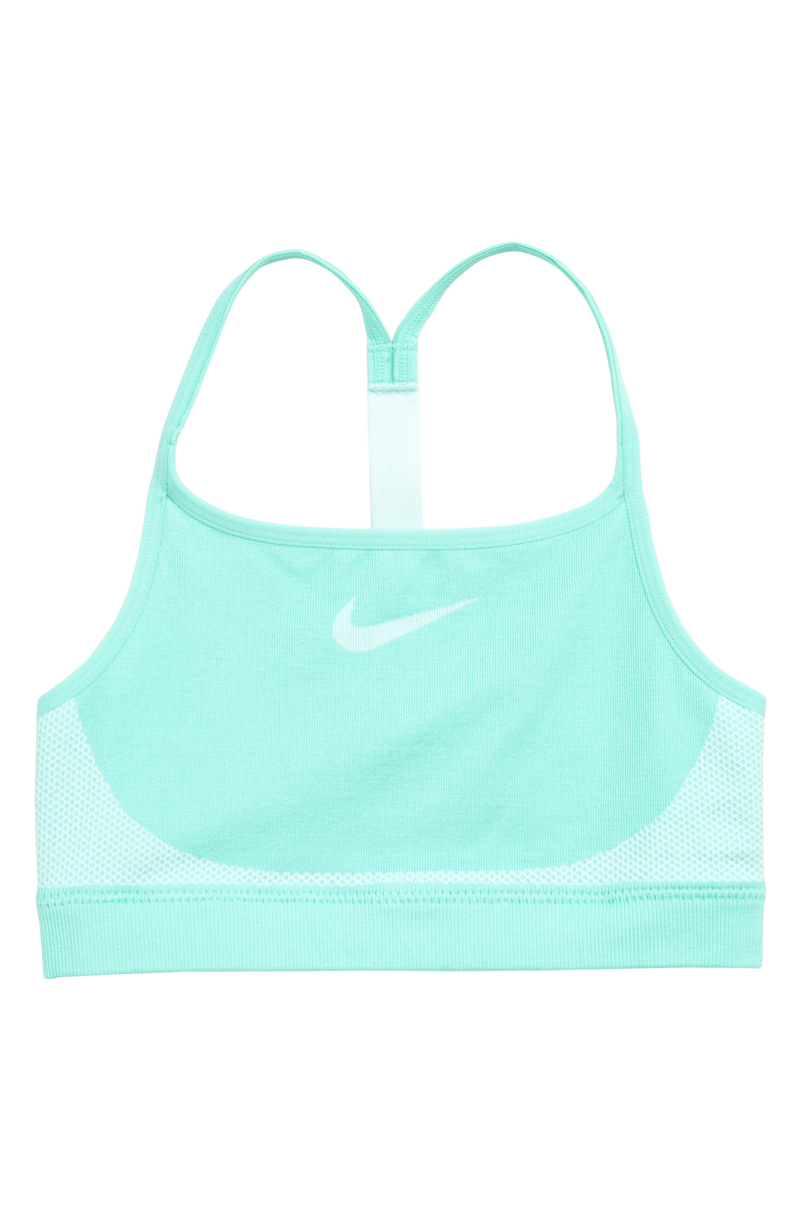 NIKE, Seamless Sports Bra, Main thumbnail 1, color, TROPICAL/ TEAL TINT
