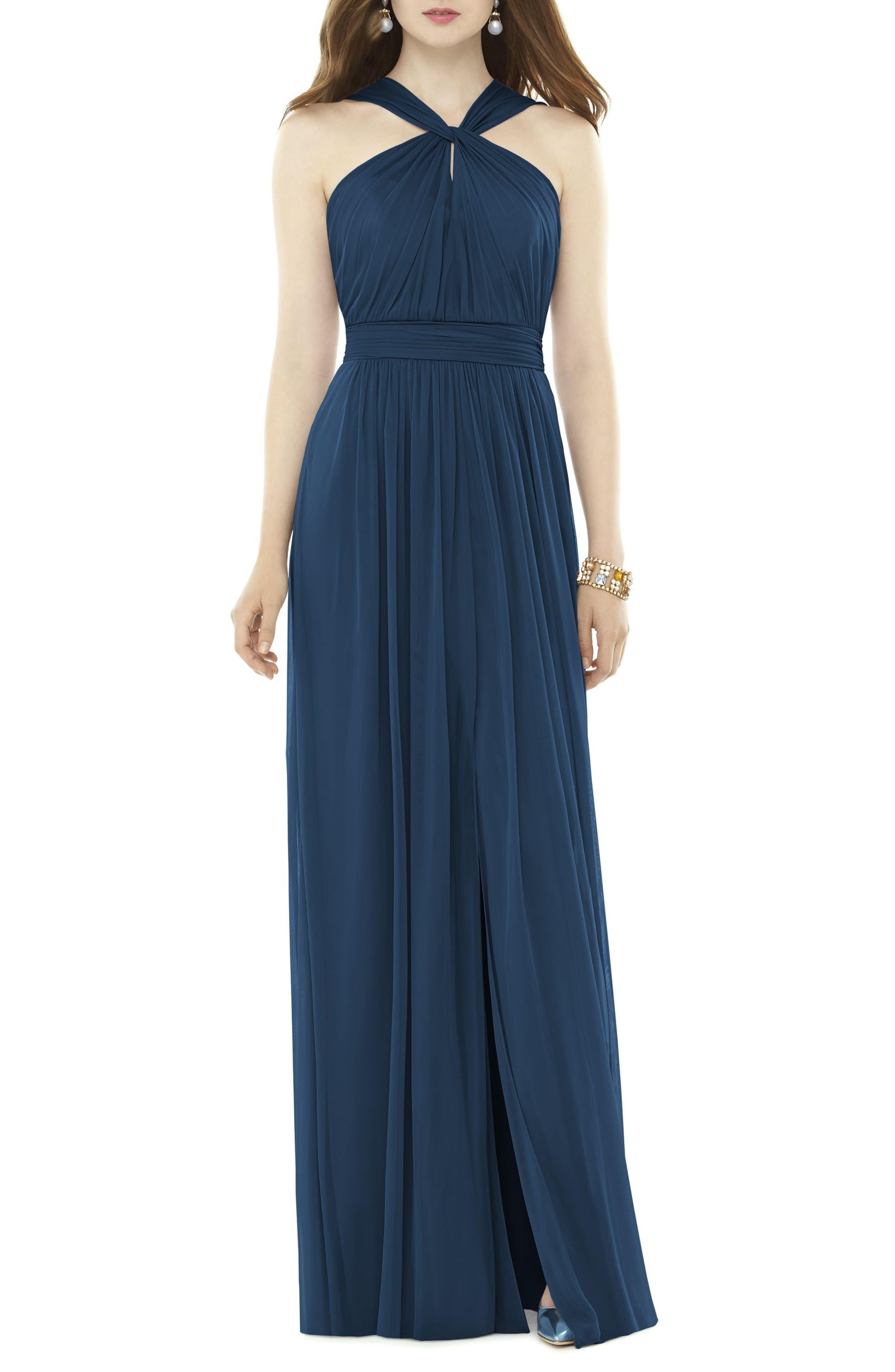 Alfred Sung Twist Neck Chiffon Knit Gown, Blue