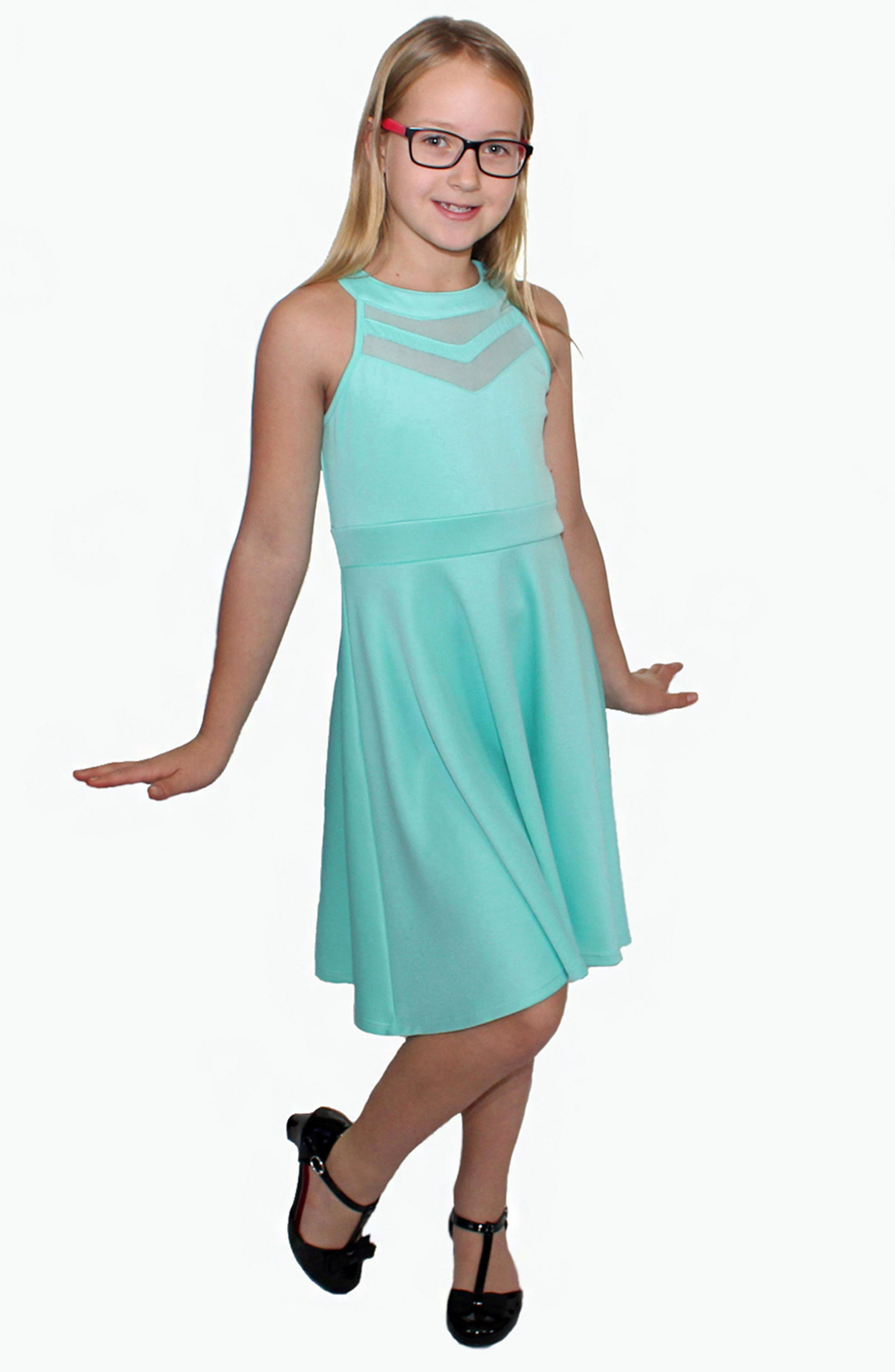 LOVE, NICKIE LEW, Mesh Inset Party Dress, Alternate thumbnail 4, color, MINT