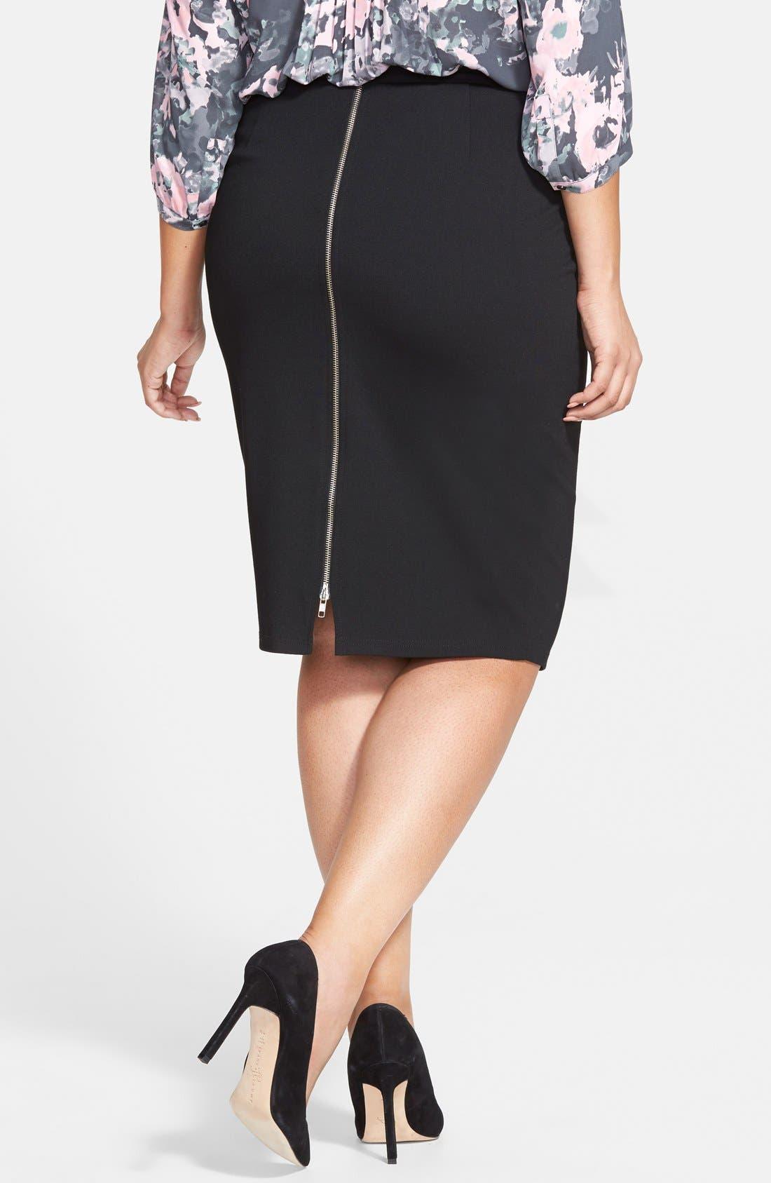 CITY CHIC, Back Zip Tube Skirt, Alternate thumbnail 2, color, BLACK