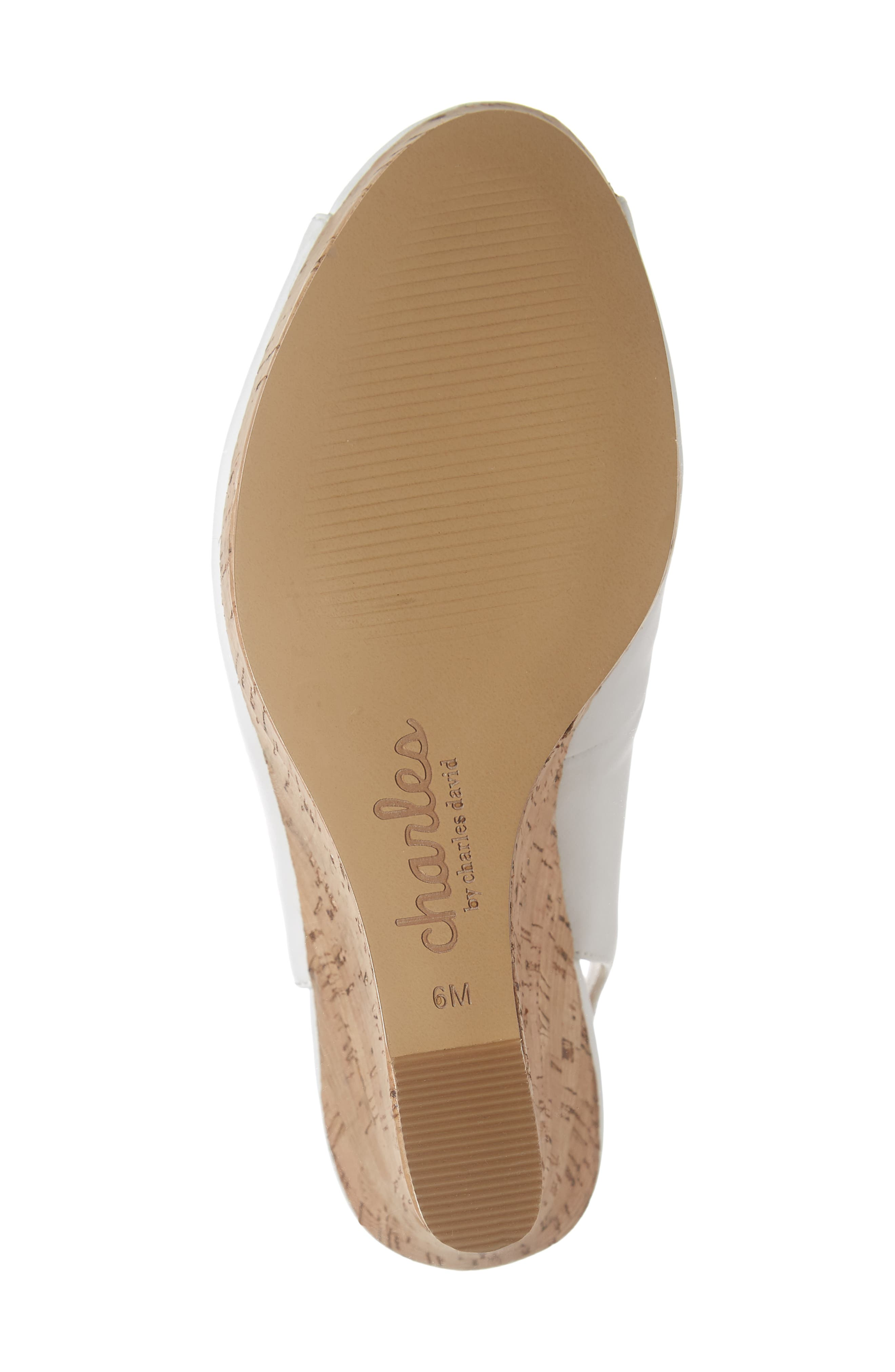 CHARLES BY CHARLES DAVID, Leandra Slingback Wedge, Alternate thumbnail 6, color, 100