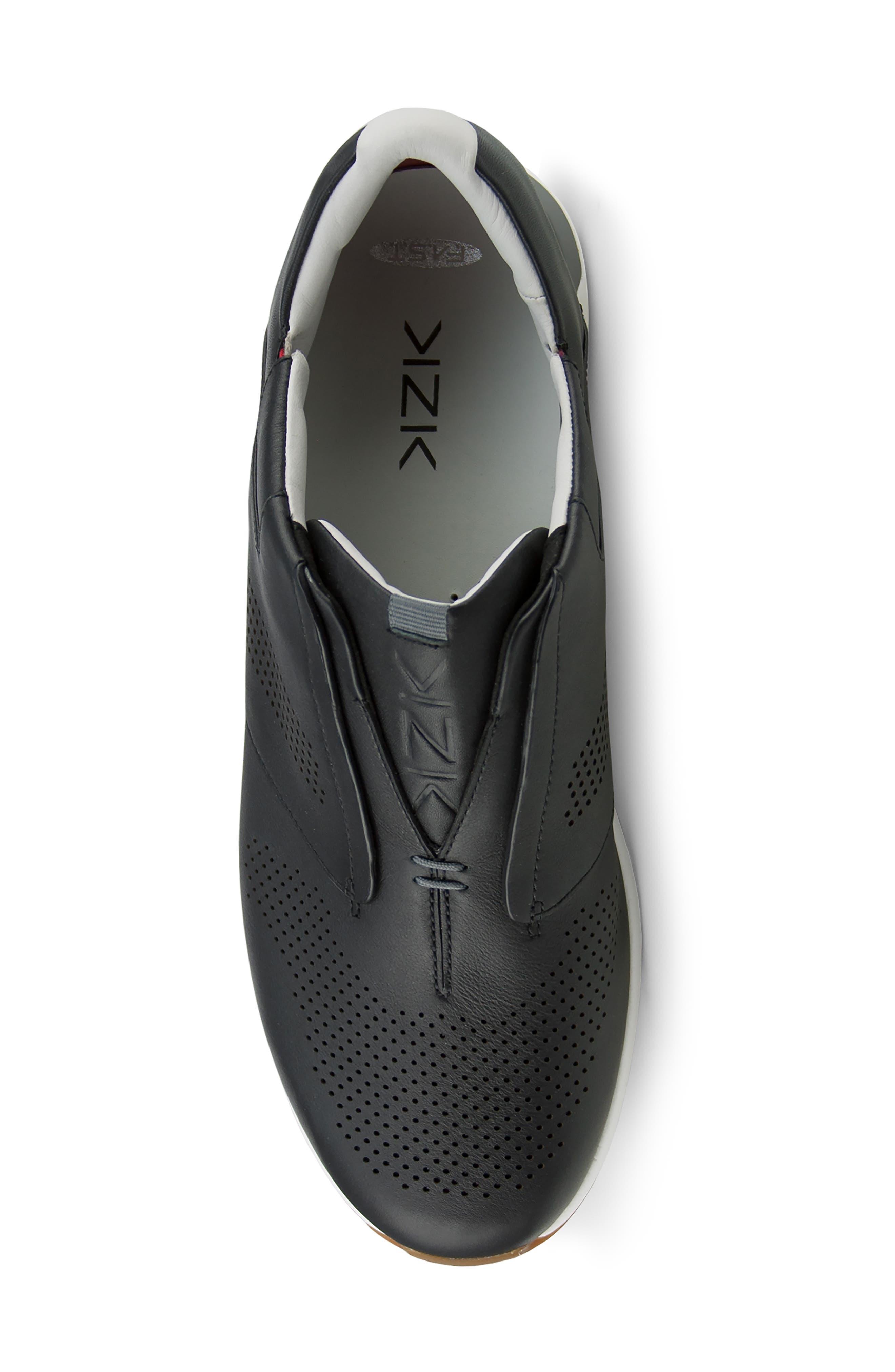 KIZIK, Dubai Slip-On Sneaker, Alternate thumbnail 4, color, BLACK LEATHER