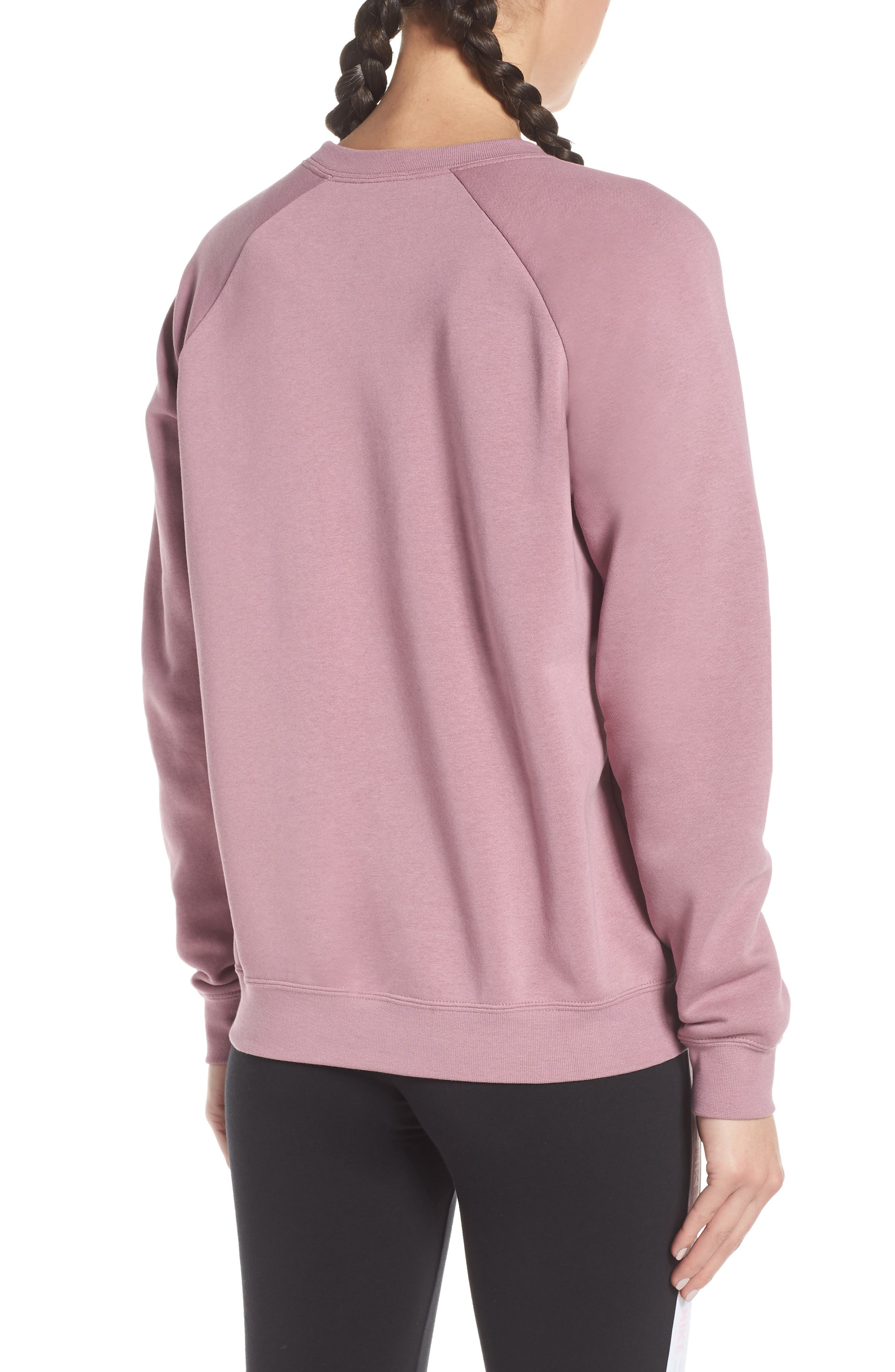NIKE, NSW Rally Sweatshirt, Alternate thumbnail 2, color, PLUM DUST/ WHITE
