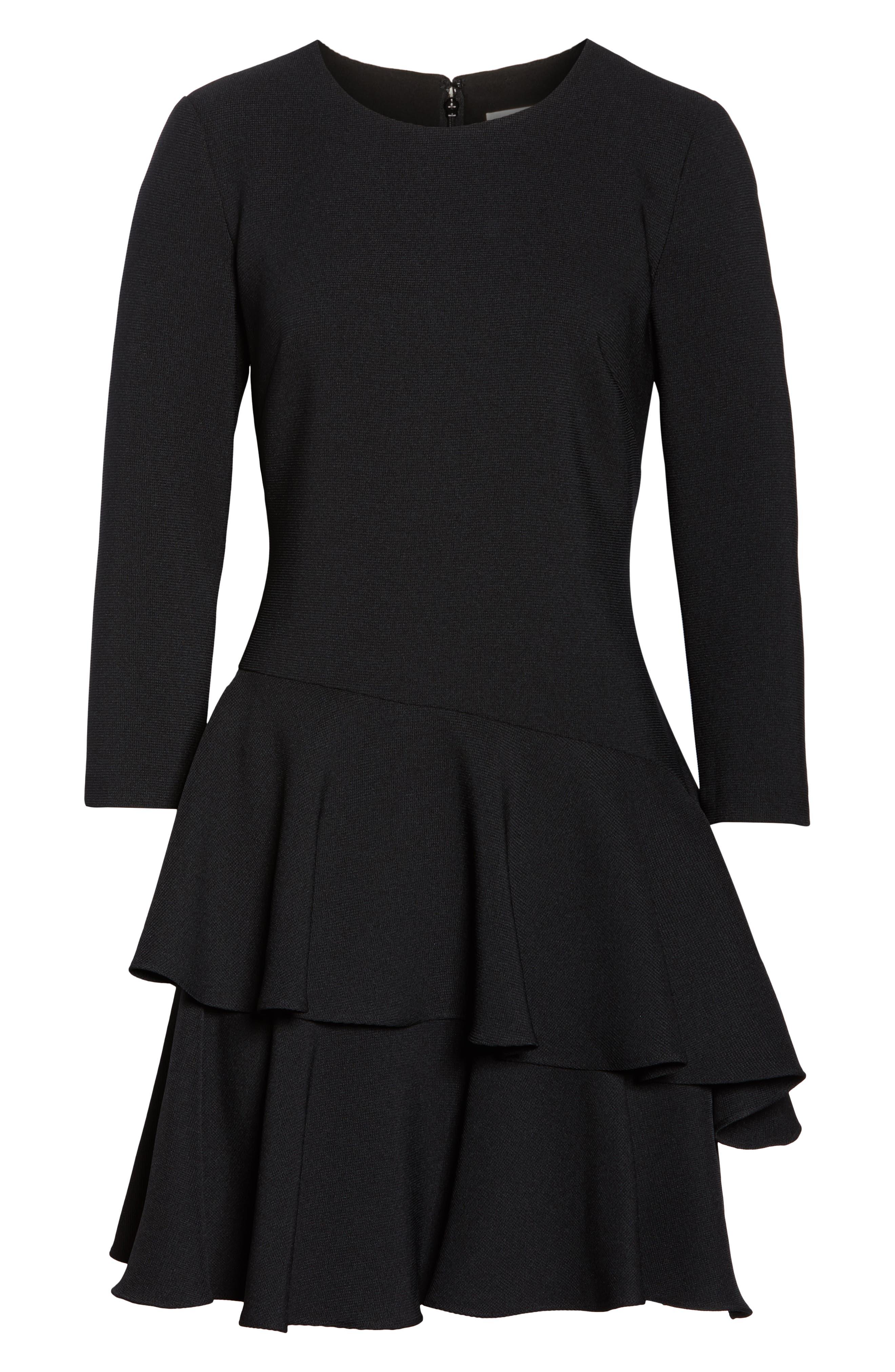 ELIZA J, Tiered Ruffle Knit Dress, Alternate thumbnail 7, color, 001