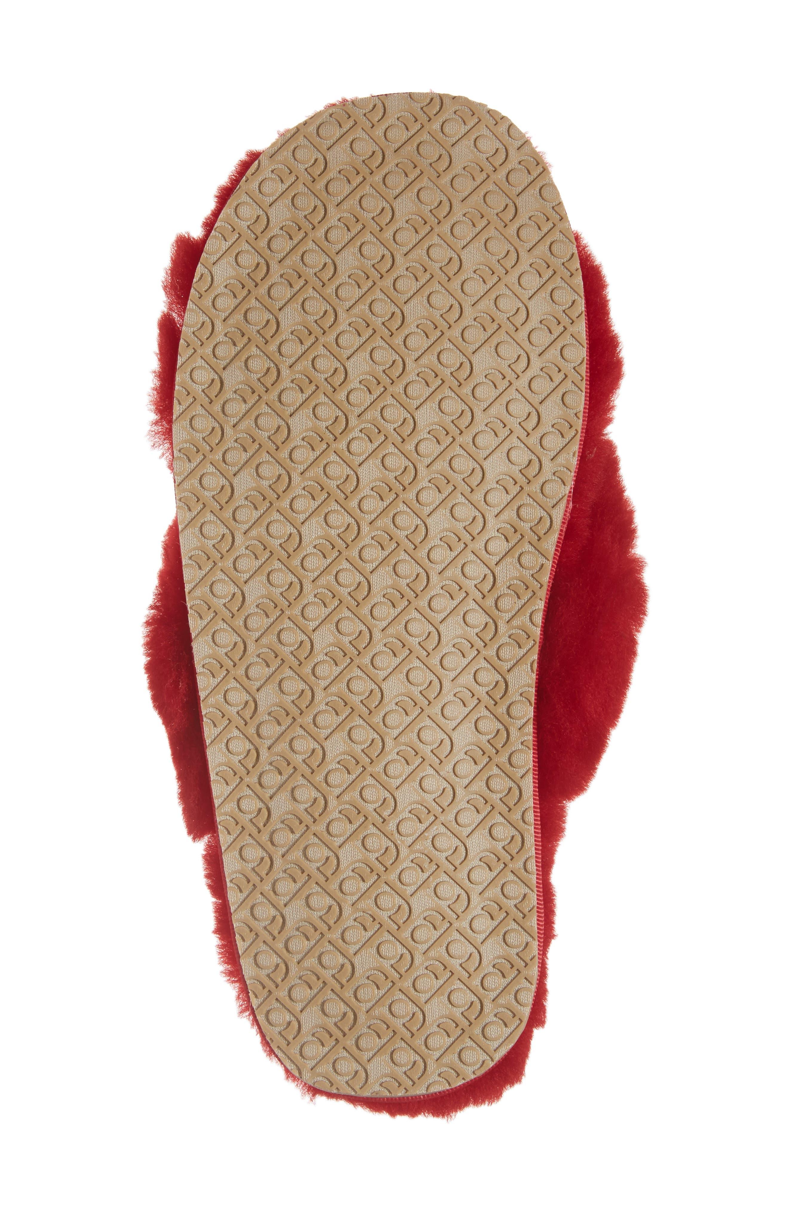 PATRICIA GREEN, Mt. Hood Genuine Shearling Slipper, Alternate thumbnail 6, color, RED