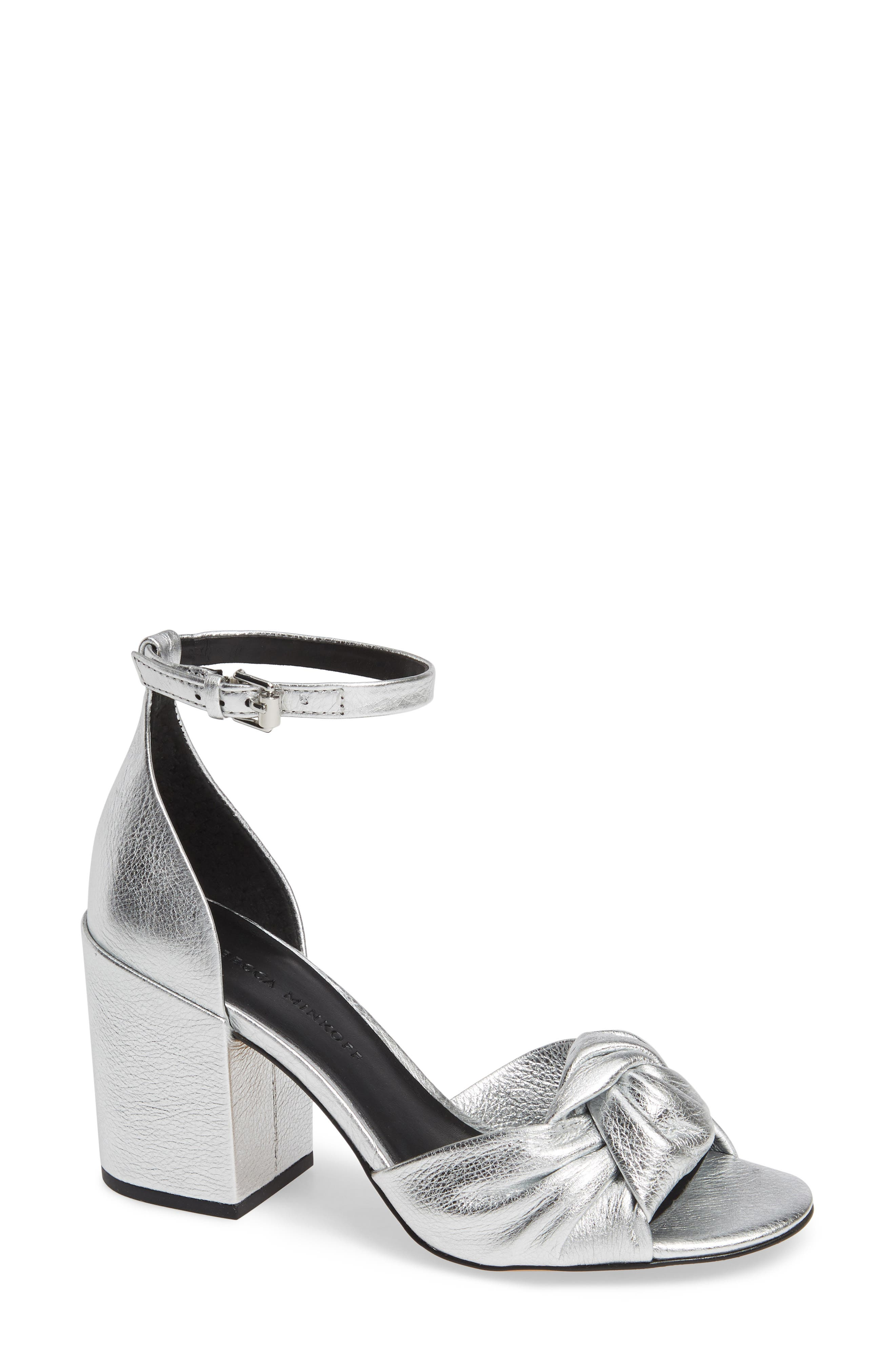 REBECCA MINKOFF, Capriana Ankle Strap Sandal, Main thumbnail 1, color, SILVER LEATHER