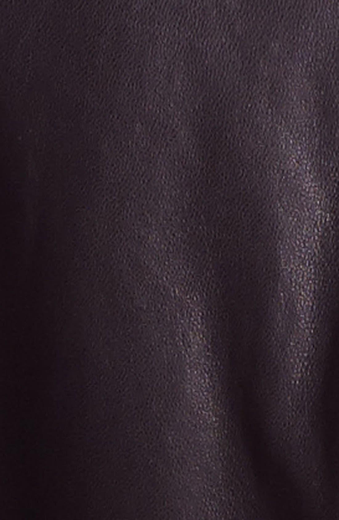 BERNARDO, Asymmetrical Leather Moto Jacket, Alternate thumbnail 2, color, 001