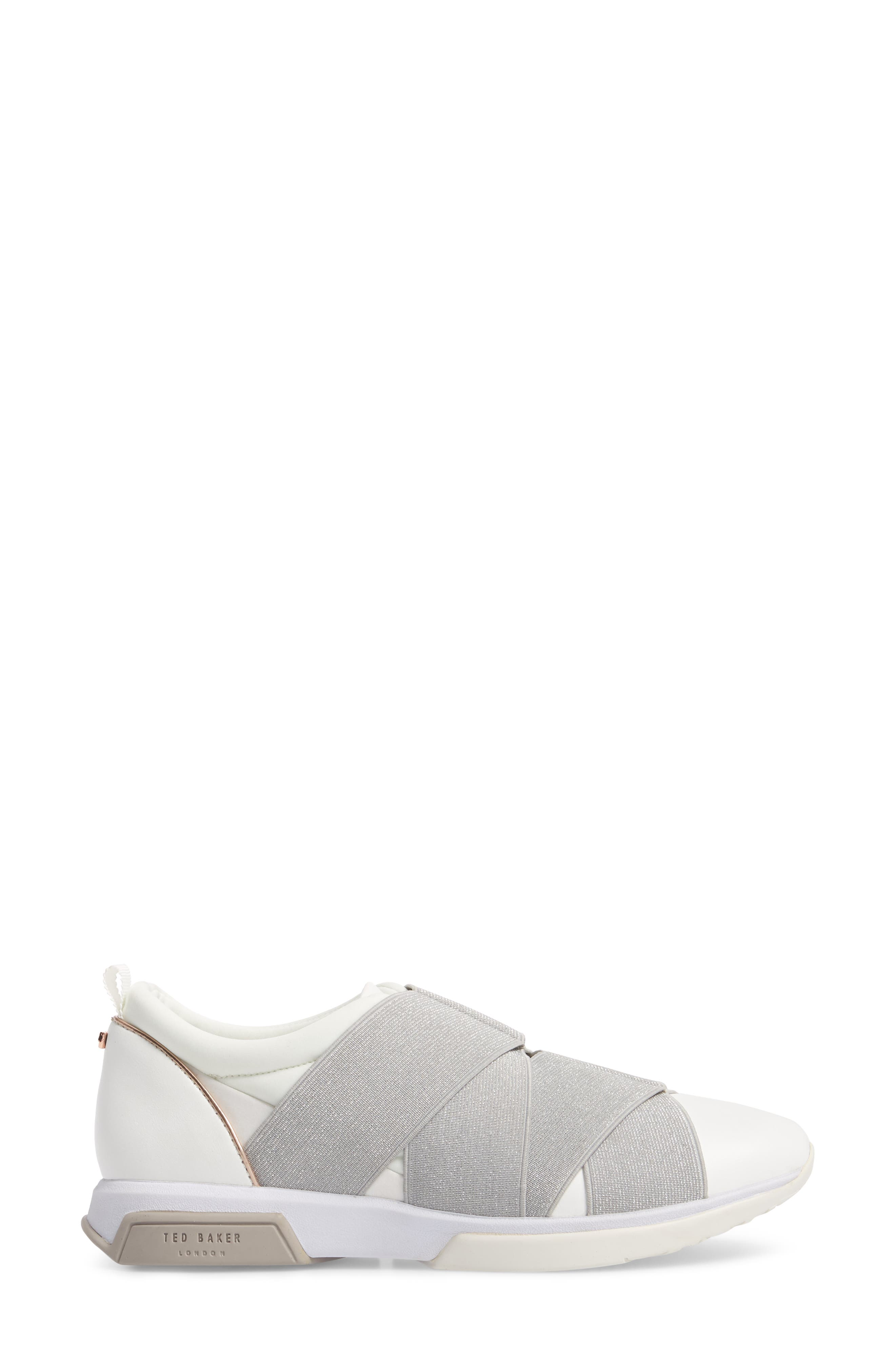 TED BAKER LONDON, Queane Sneaker, Alternate thumbnail 3, color, WHITE/ SILVER LEATHER