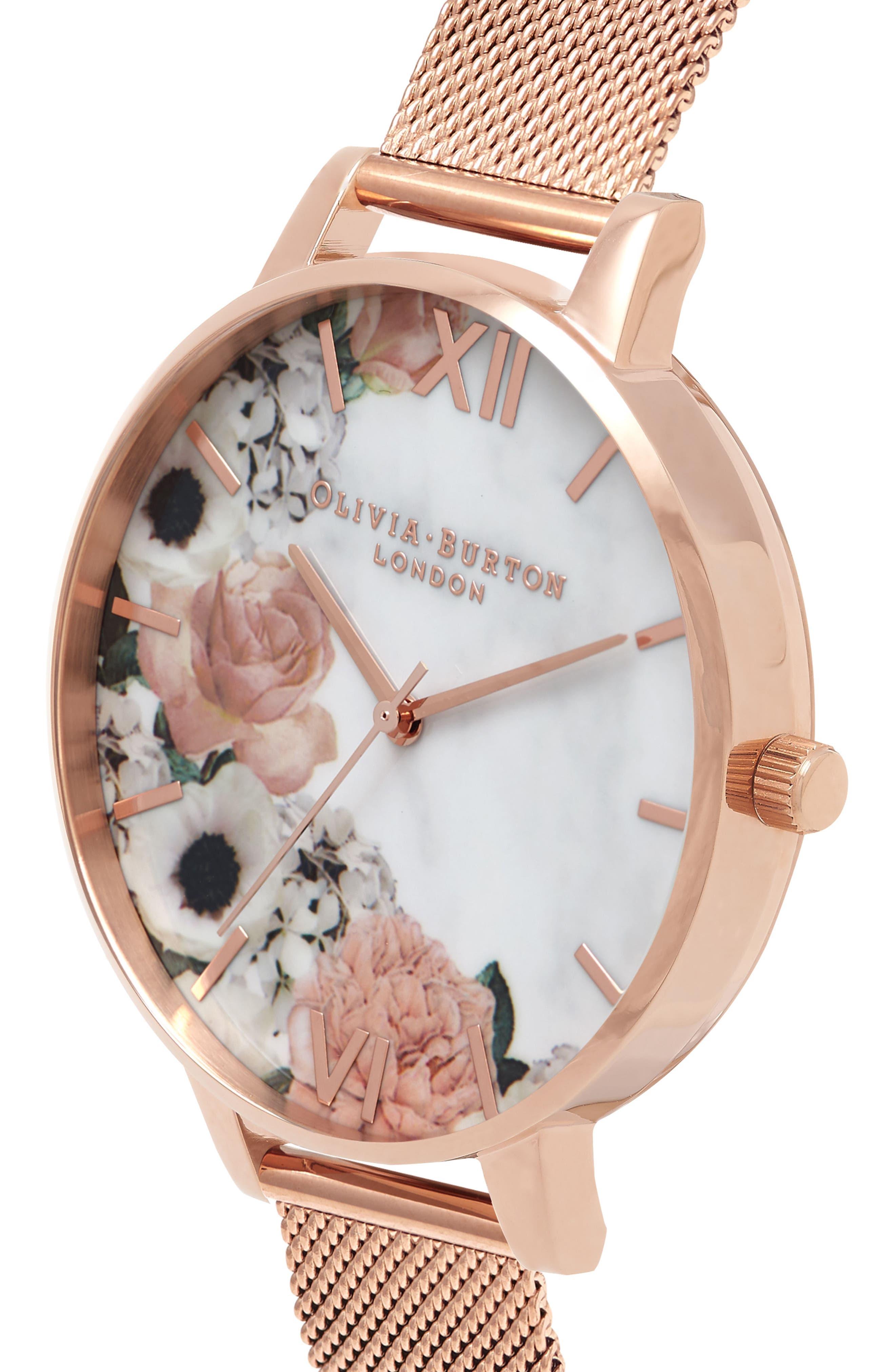 OLIVIA BURTON, Marble Floral Mesh Strap Watch, 38mm, Alternate thumbnail 3, color, 712