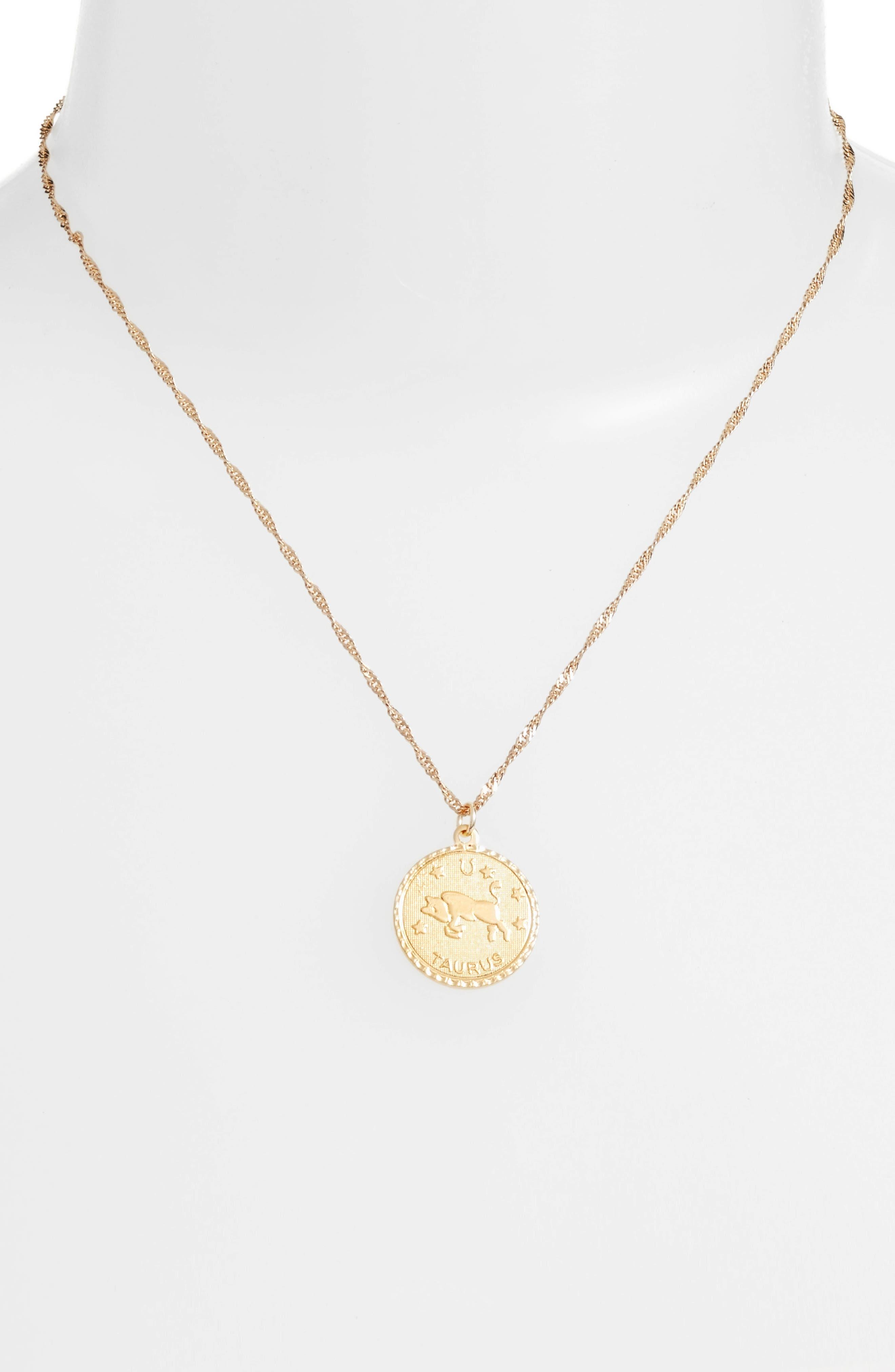 CAM Jewelry Ascending Zodiac Medallion Necklace, Main, color, TAURUS