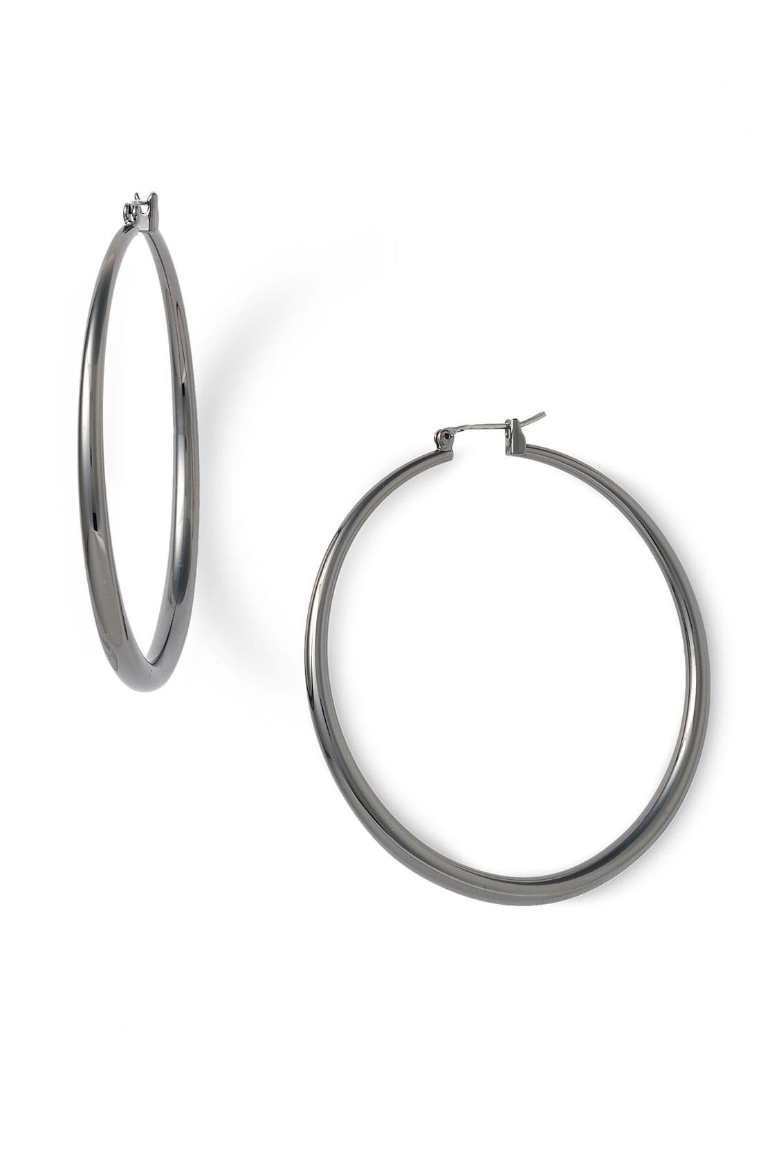 NORDSTROM, Thick Medium Hoop Earrings, Main thumbnail 1, color, 001