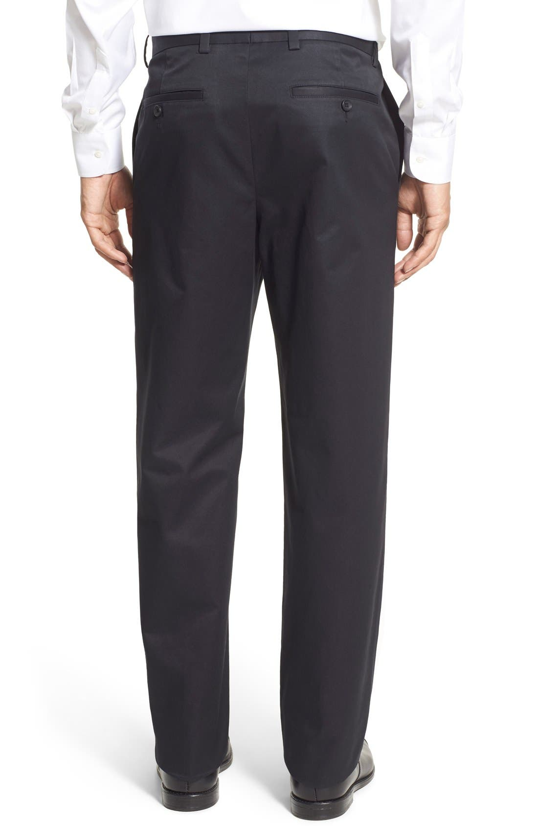 NORDSTROM MEN'S SHOP, Smartcare<sup>™</sup> Classic Supima<sup>®</sup> Cotton Flat Front Trousers, Alternate thumbnail 4, color, BLACK CAVIAR