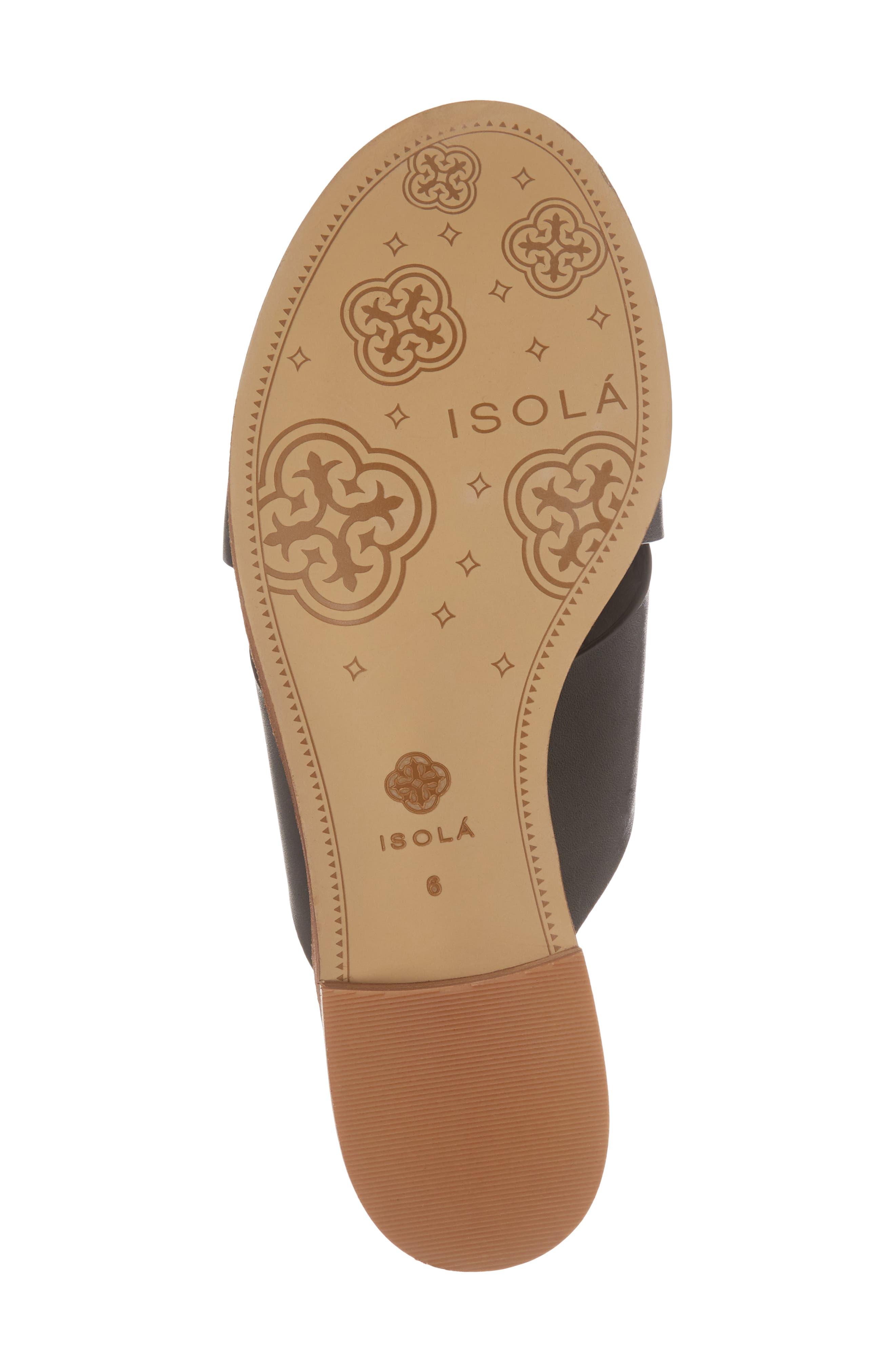 ISOLÁ, Isola Ginata Slide Sandal, Alternate thumbnail 6, color, BLACK LEATHER