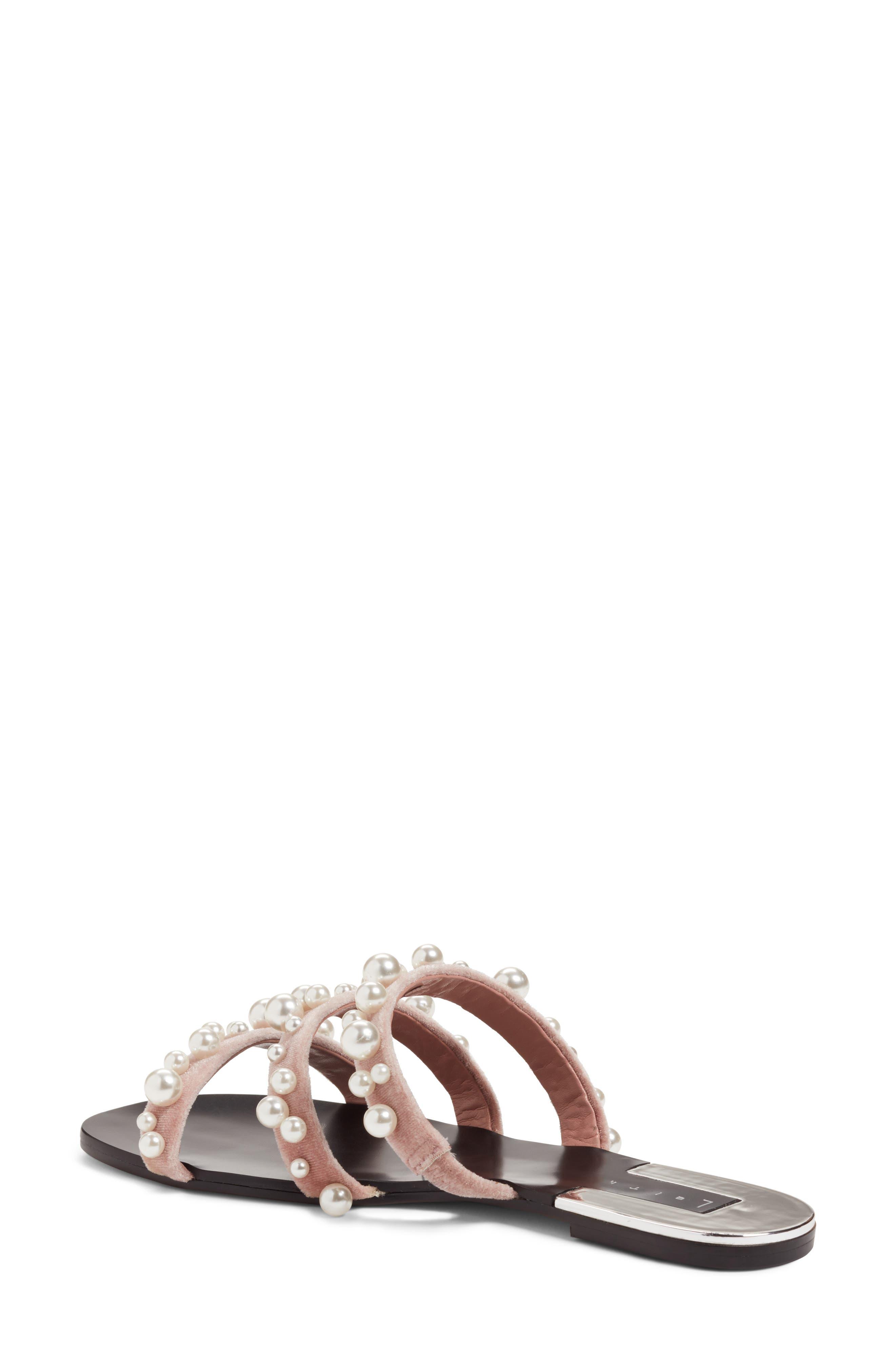 LEITH, Stunner Embellished Strappy Slide Sandal, Alternate thumbnail 2, color, BLUSH VELVET